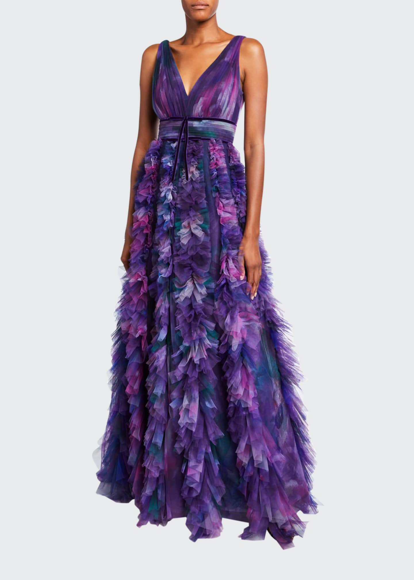 Marchesa Notte Printed V-Neck Sleeveless Textured Tulle A-Line