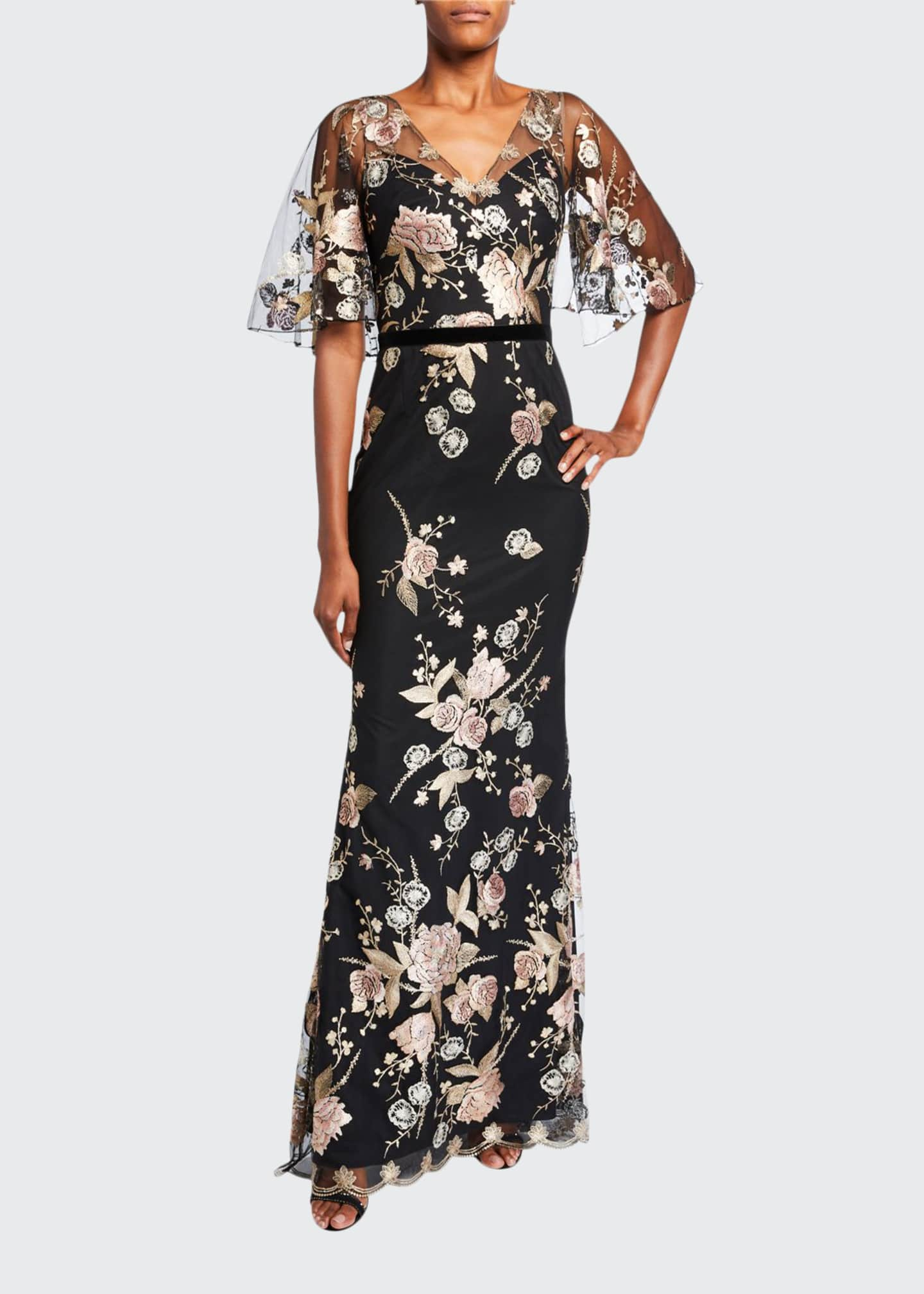 Marchesa Notte Floral Embroidered V-Neck Cape-Sleeve Column Gown