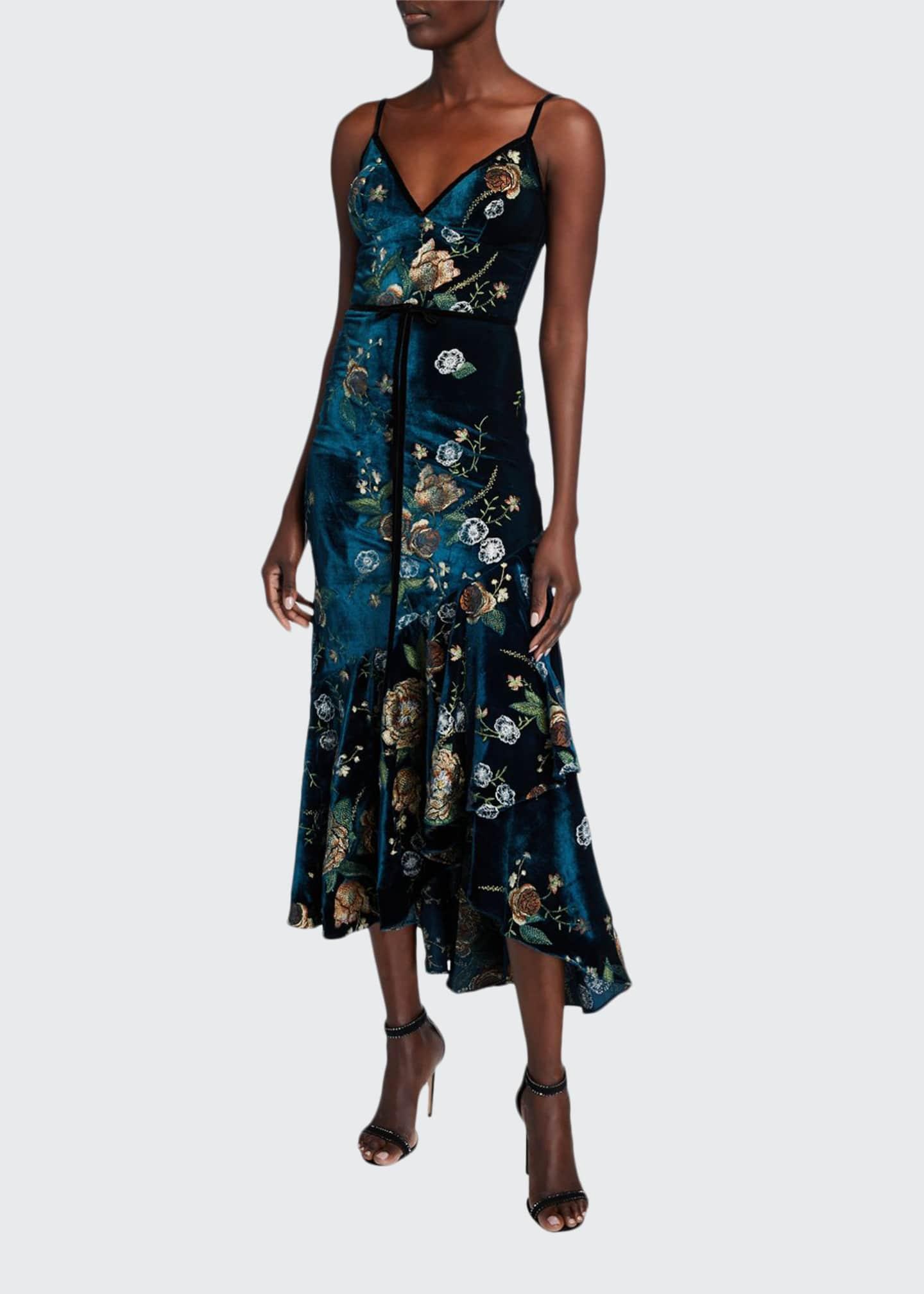 Marchesa Notte Embroidered High-Low Sleeveless Velvet Cocktail