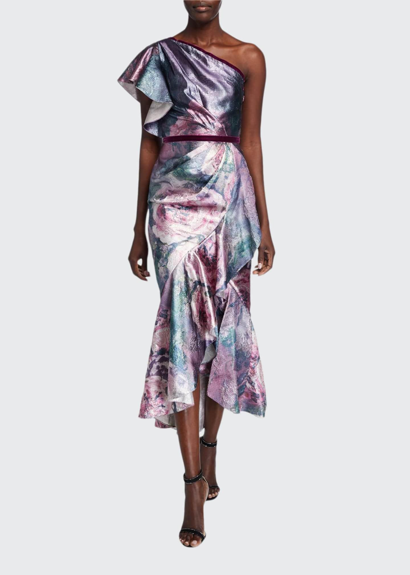 Marchesa Notte Metallic Jacquard One-Shoulder Tea Length Dress