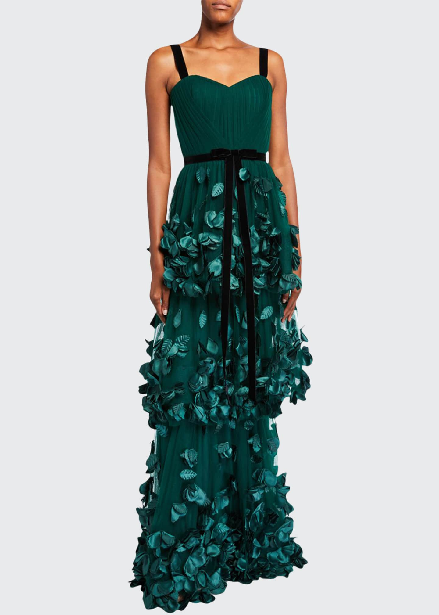 Marchesa Notte Sleeveless Three Tiered Column Gown with