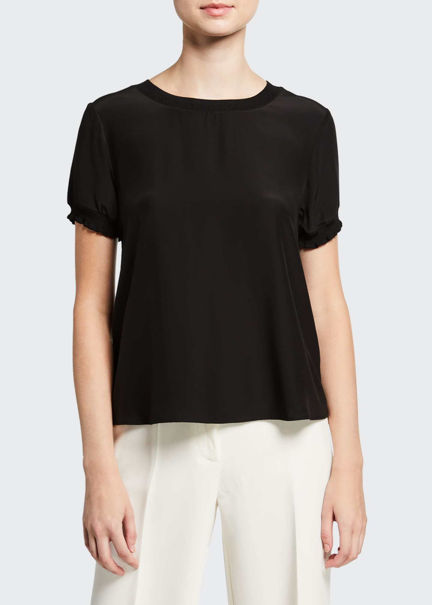 Image 1 of 3: Lenny Crewneck Short-Sleeve Silk Top