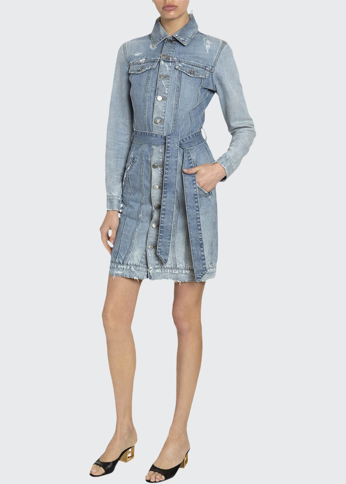 Givenchy Washed Denim Belted Shirtdress