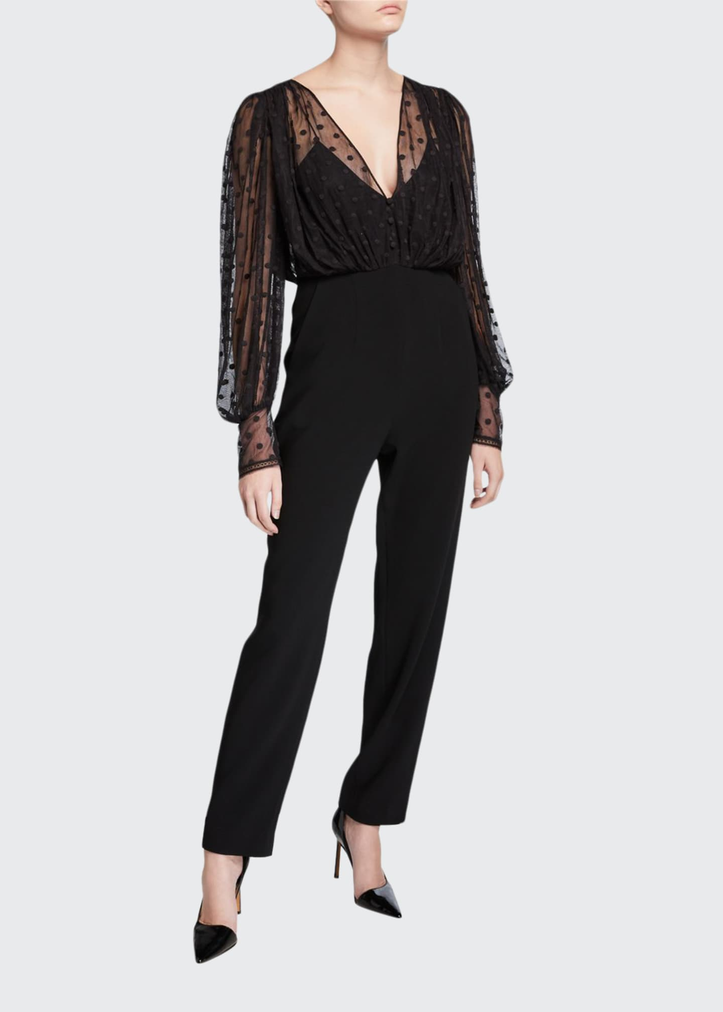Image 1 of 2: Bernadette Dotted Mesh Overlay Jumpsuit
