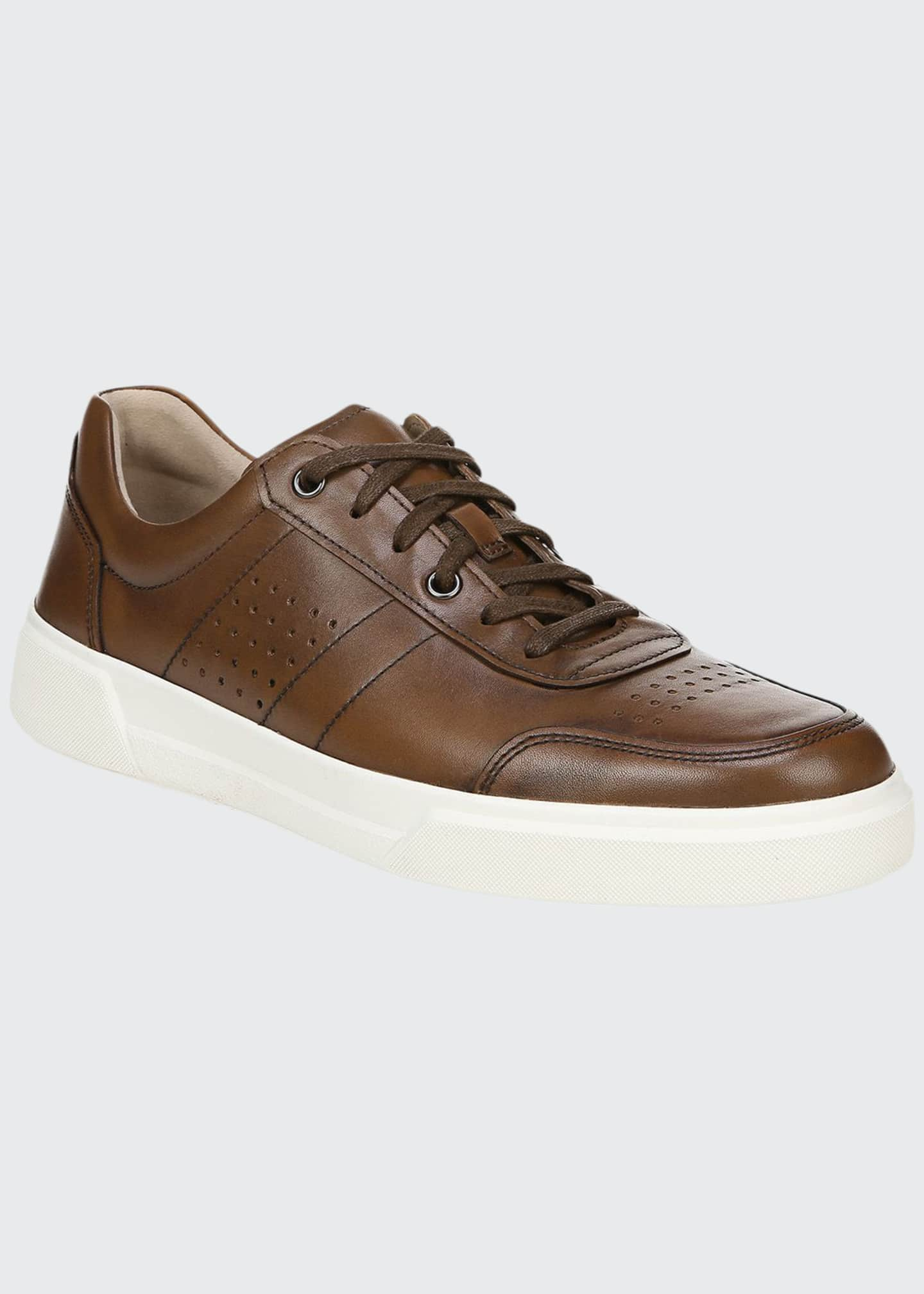 Image 1 of 5: Men's Barnett Perforated Leather Low-Top Sneakers
