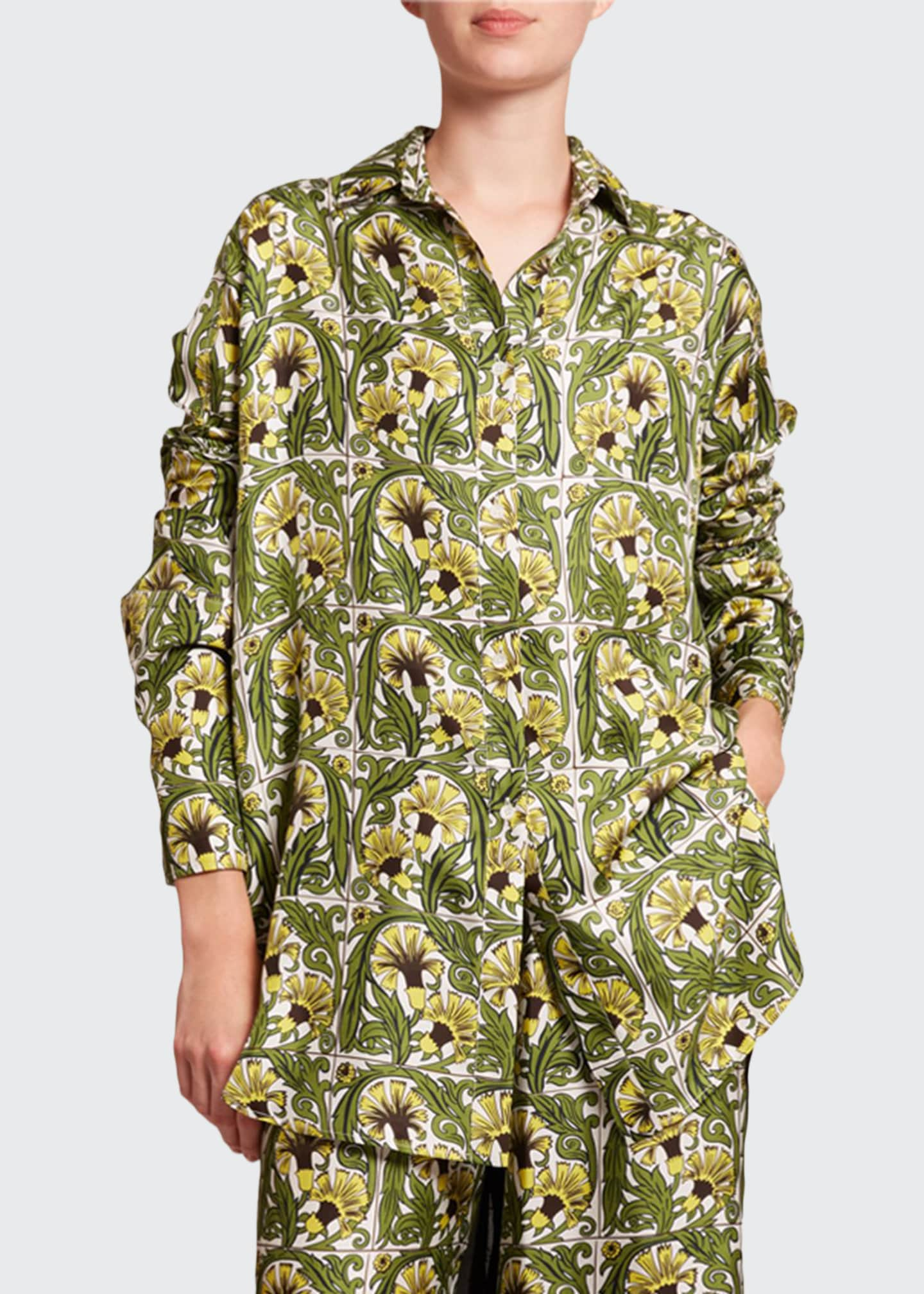 Image 1 of 2: Oversized Floral Print Silk-Front Shirt