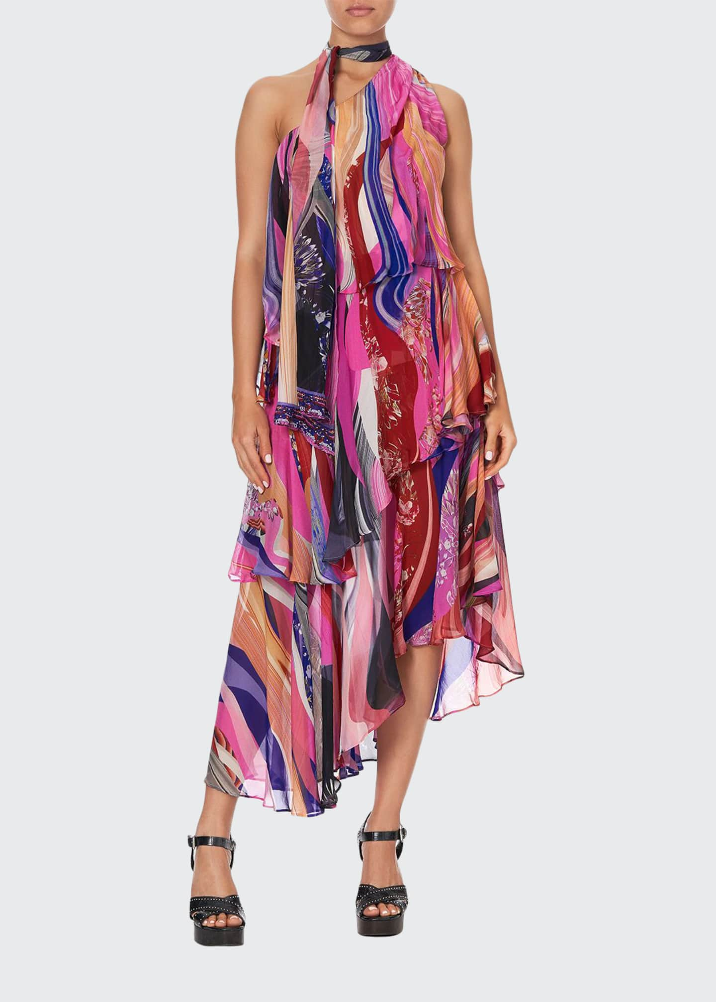 Camilla Asymmetric Tie-Neck Silk Dress