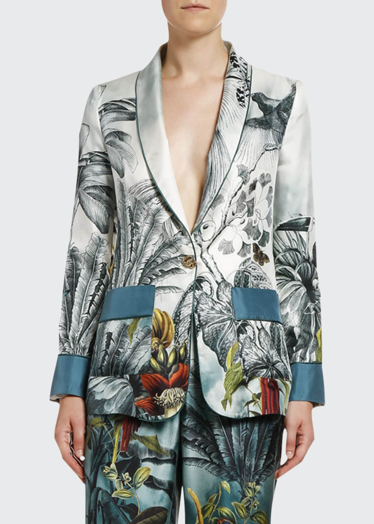 Image 1 of 2: Paradise-Print Fitted Silk Jacket
