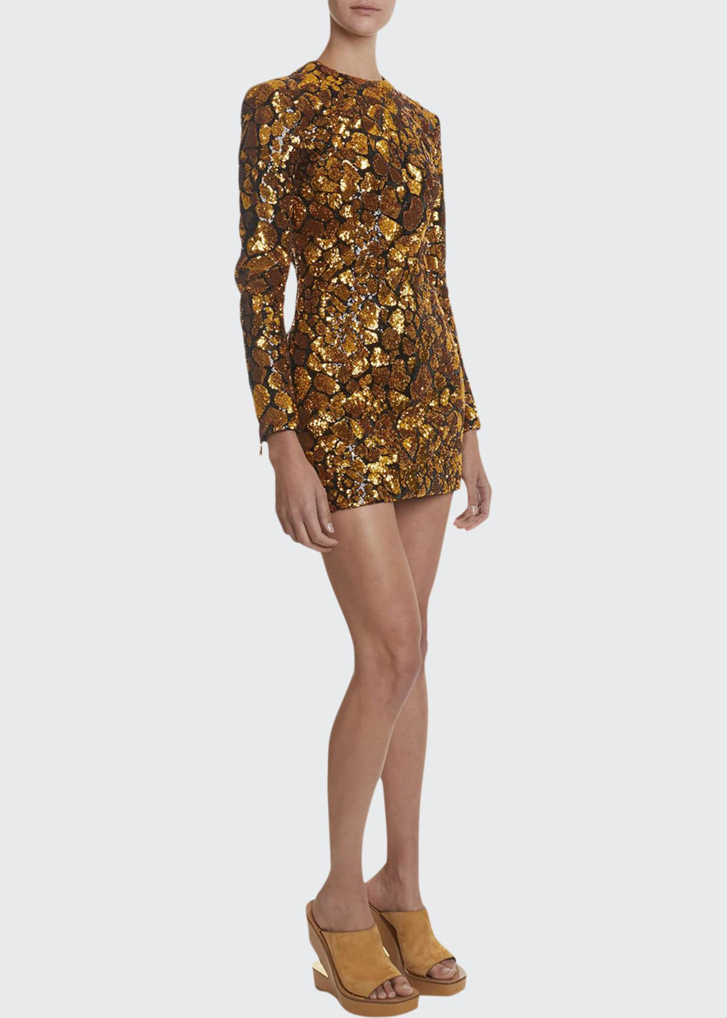 Image 1 of 2: Sequined Giraffe-Patterned Mini Dress