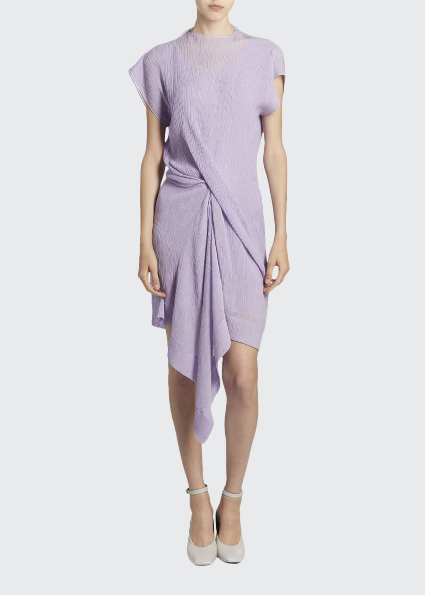 Asymmetric Draped Front Mini Dress