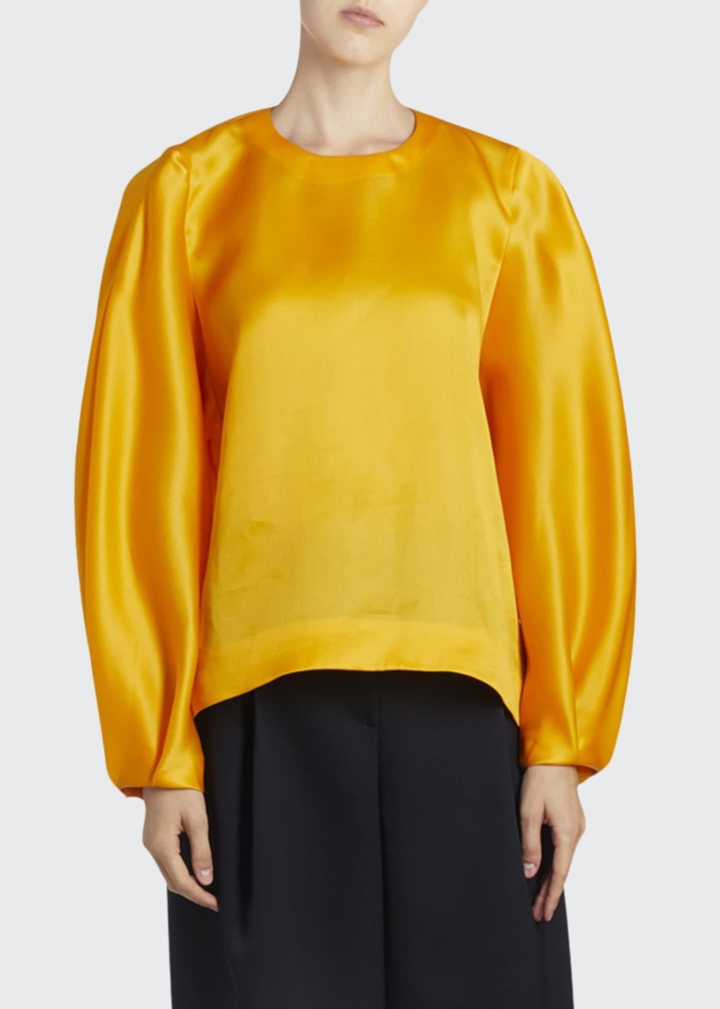 Image 1 of 3: Silk Long-Sleeve Top