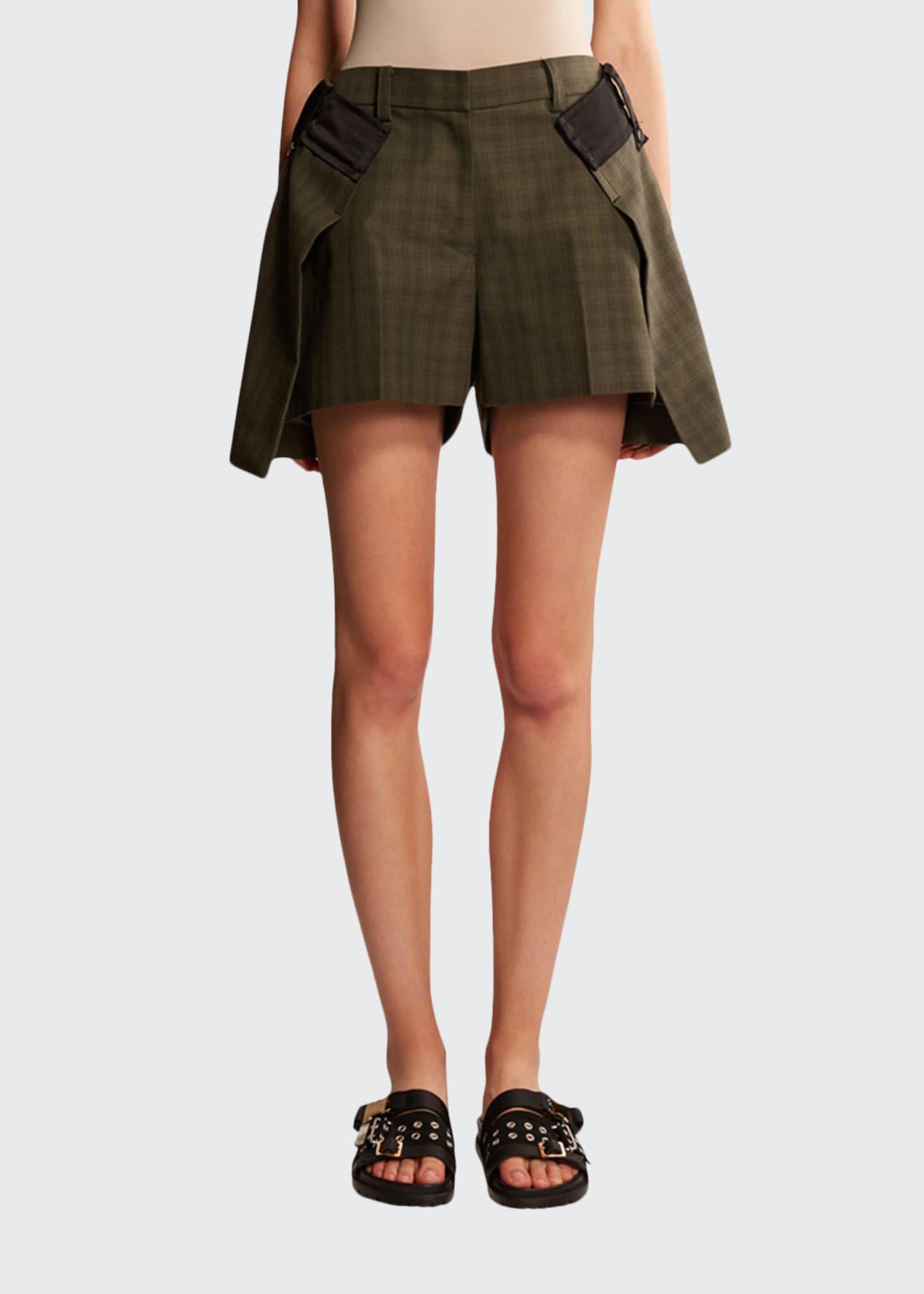 SACAI Glen-Checked Asymmetric Layered Shorts