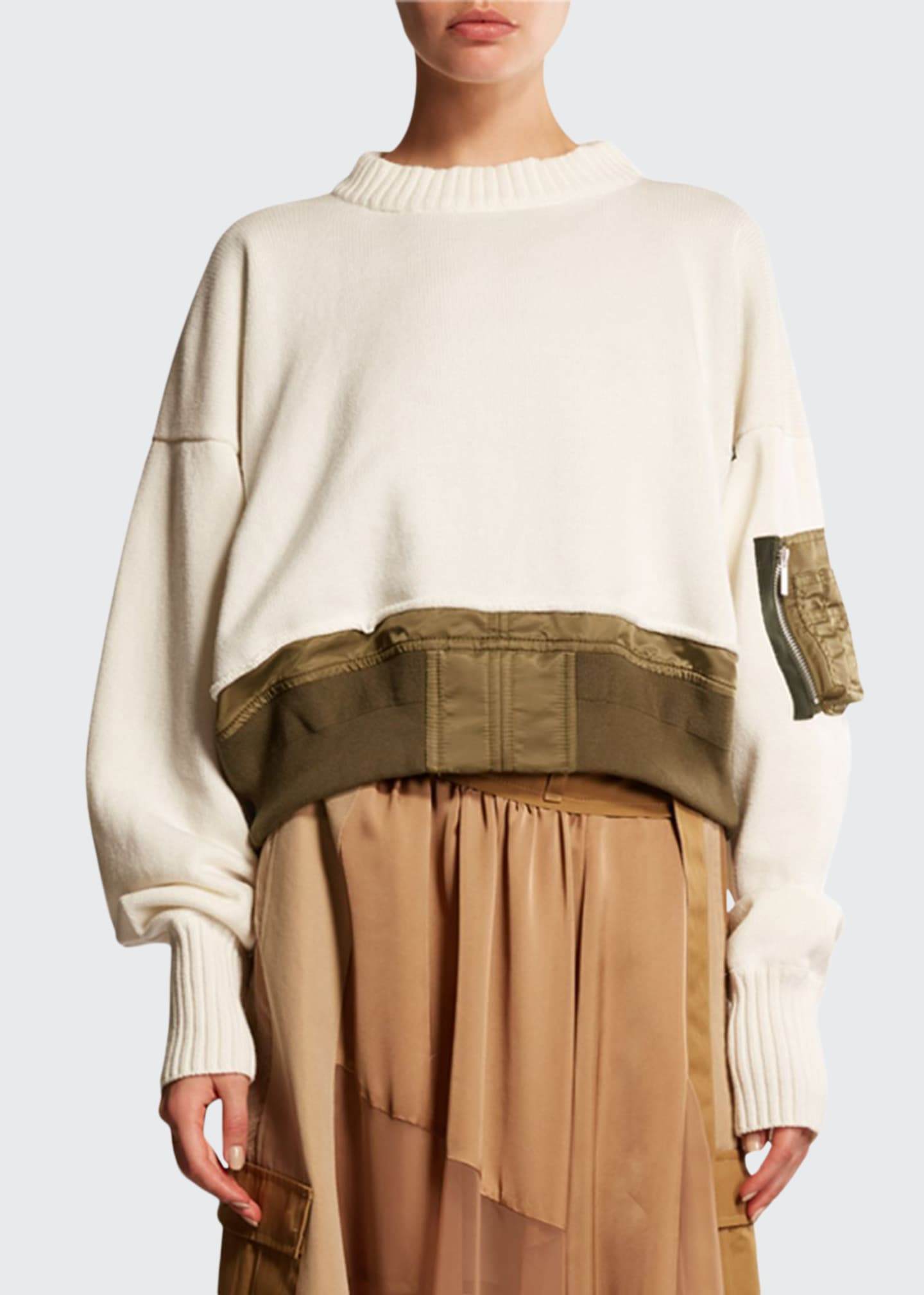 SACAI Nylon-Trim Sweatshirt