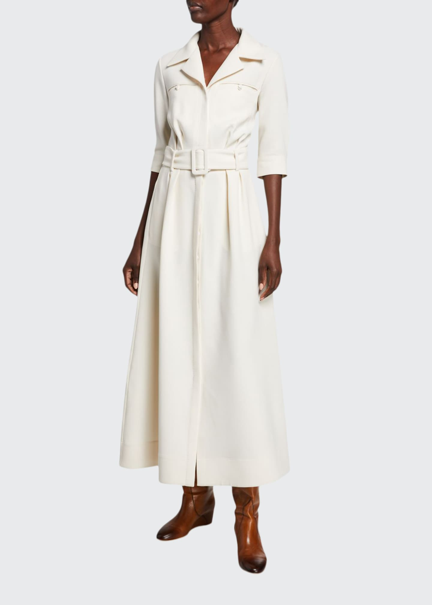 Image 1 of 2: Simone Double-Face Crepe Dress