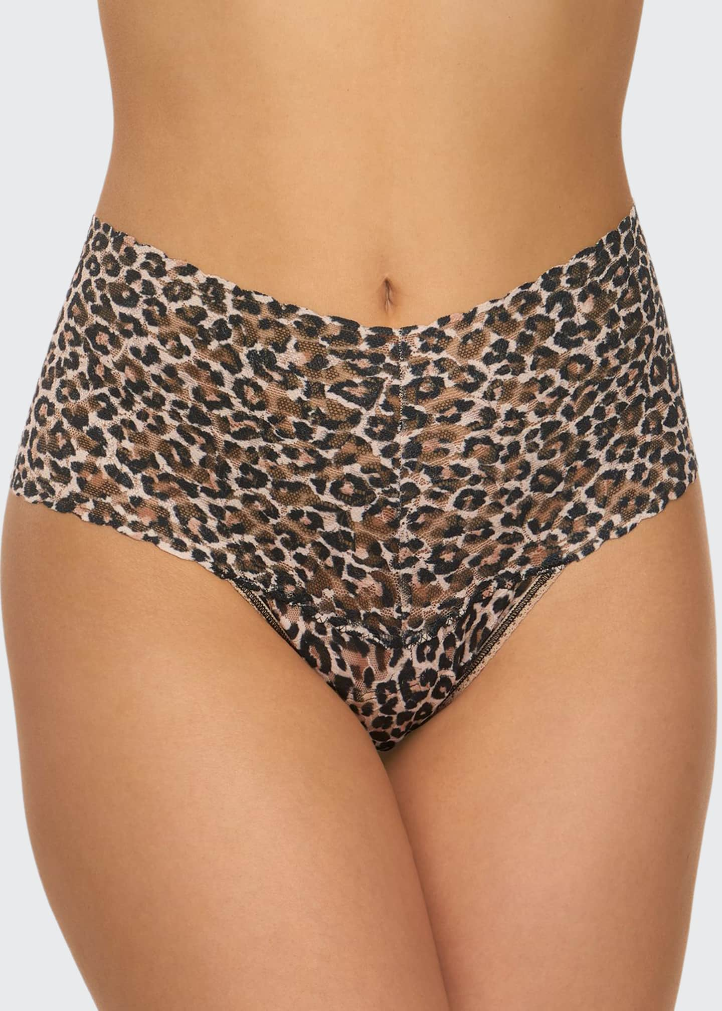 Hanky Panky Leopard-Pattern Lace Retro Thong