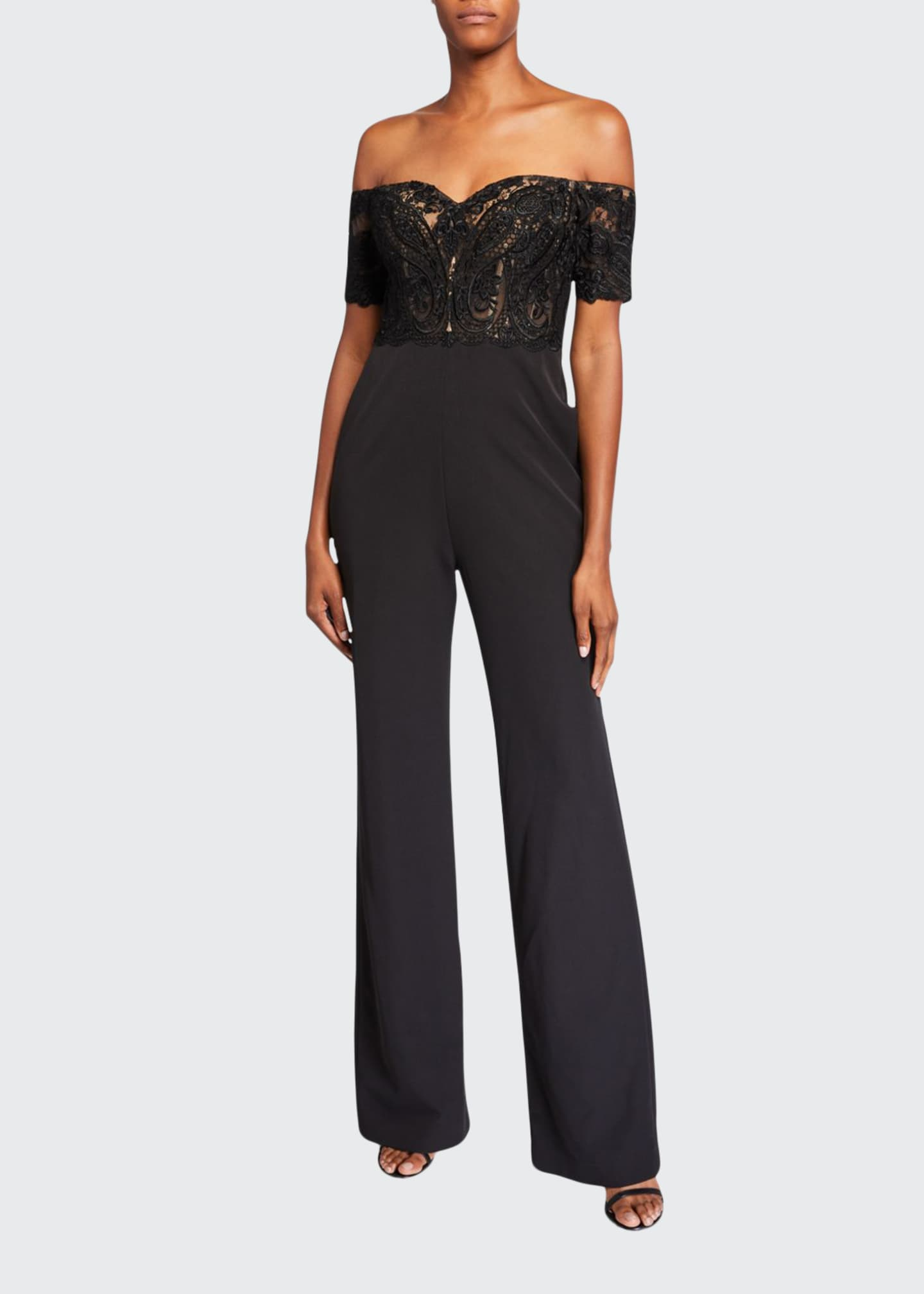 Badgley Mischka Collection Off-the-Shoulder Lace Corset Top