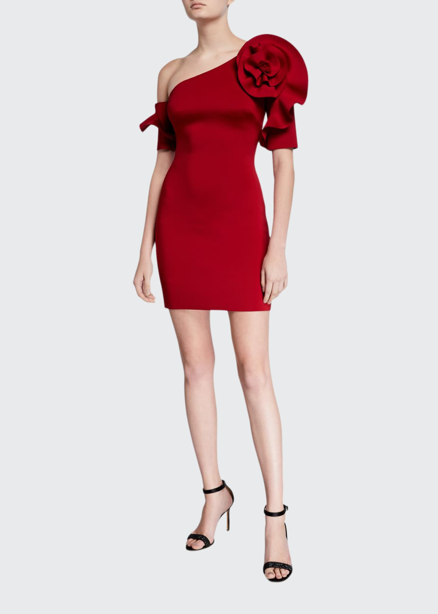 Badgley Mischka Collection One-Shoulder Mini Sheath Dress with