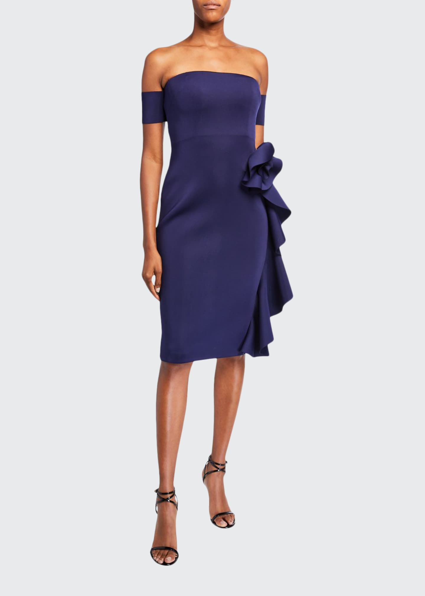 Badgley Mischka Collection Off-the-Shoulder Cocktail Dress w/