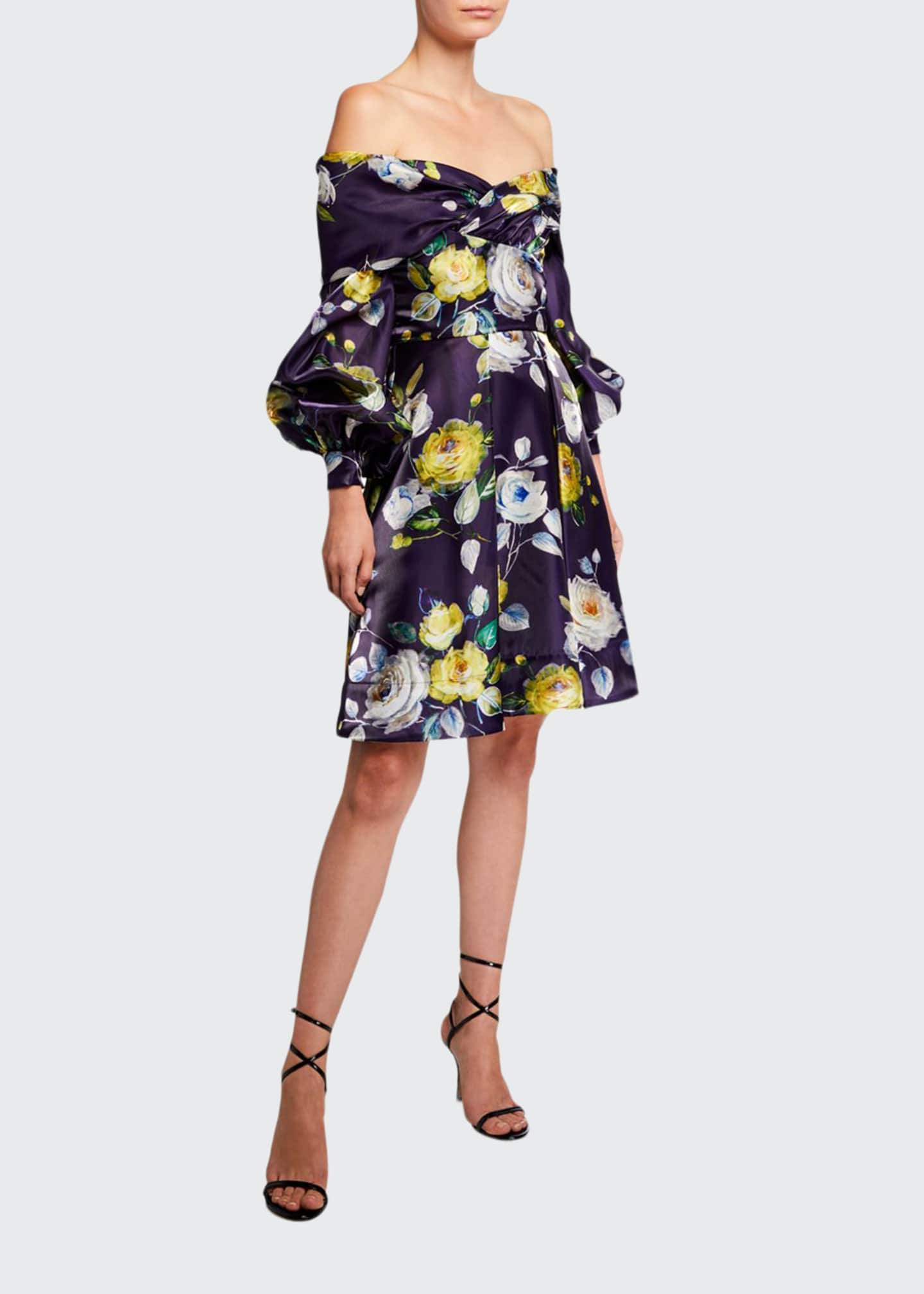 Image 1 of 2: Abba Neon Floral Off-the-Shoulder Bishop-Sleeve Liquid Organza Dress
