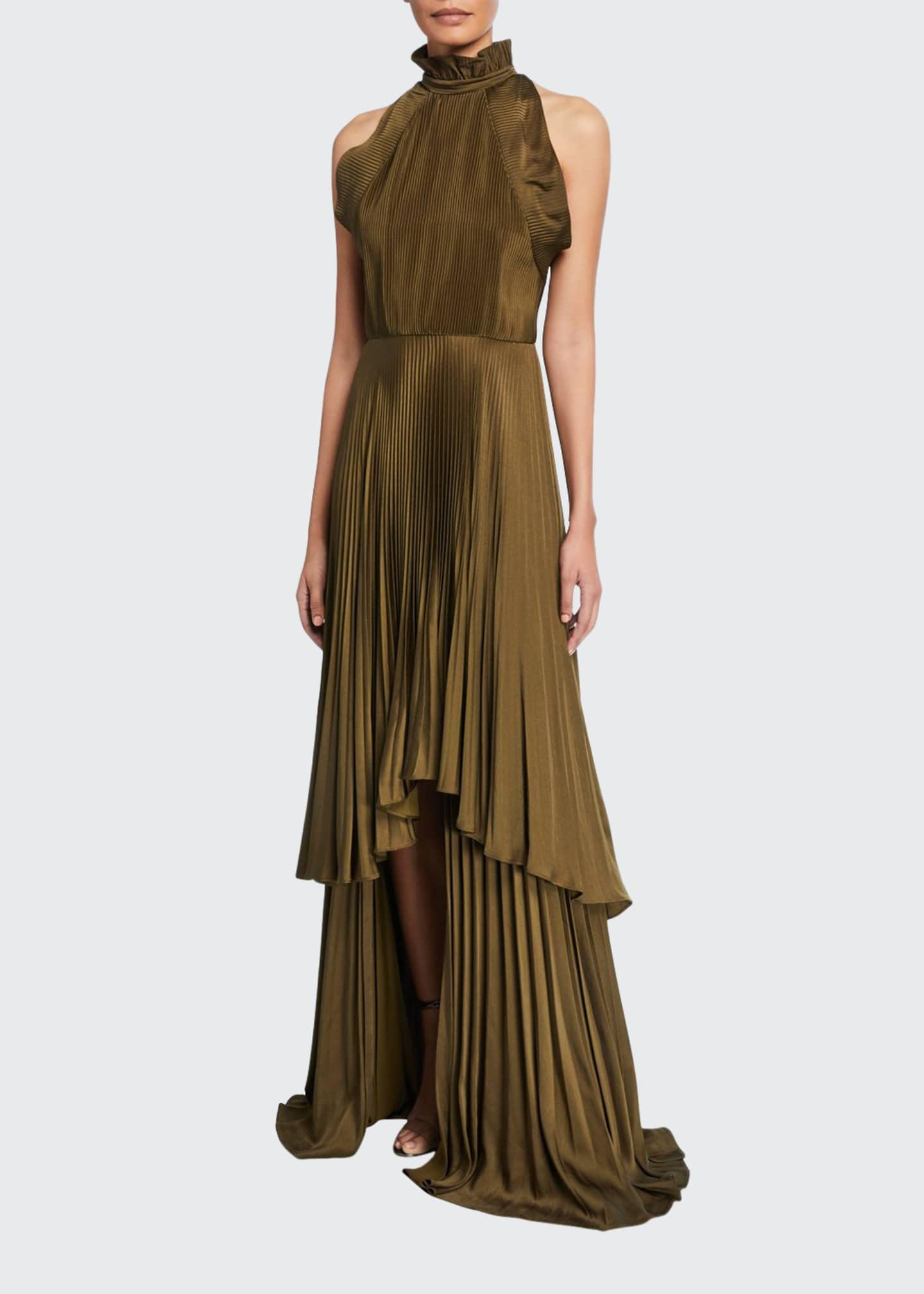 flor et.al Tiffany Pleated Charmeuse High-Neck Sleeveless Gown