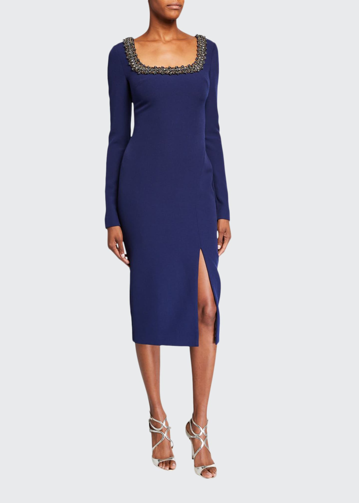 Badgley Mischka Collection Beaded Square-Neck Long-Sleeve Dress
