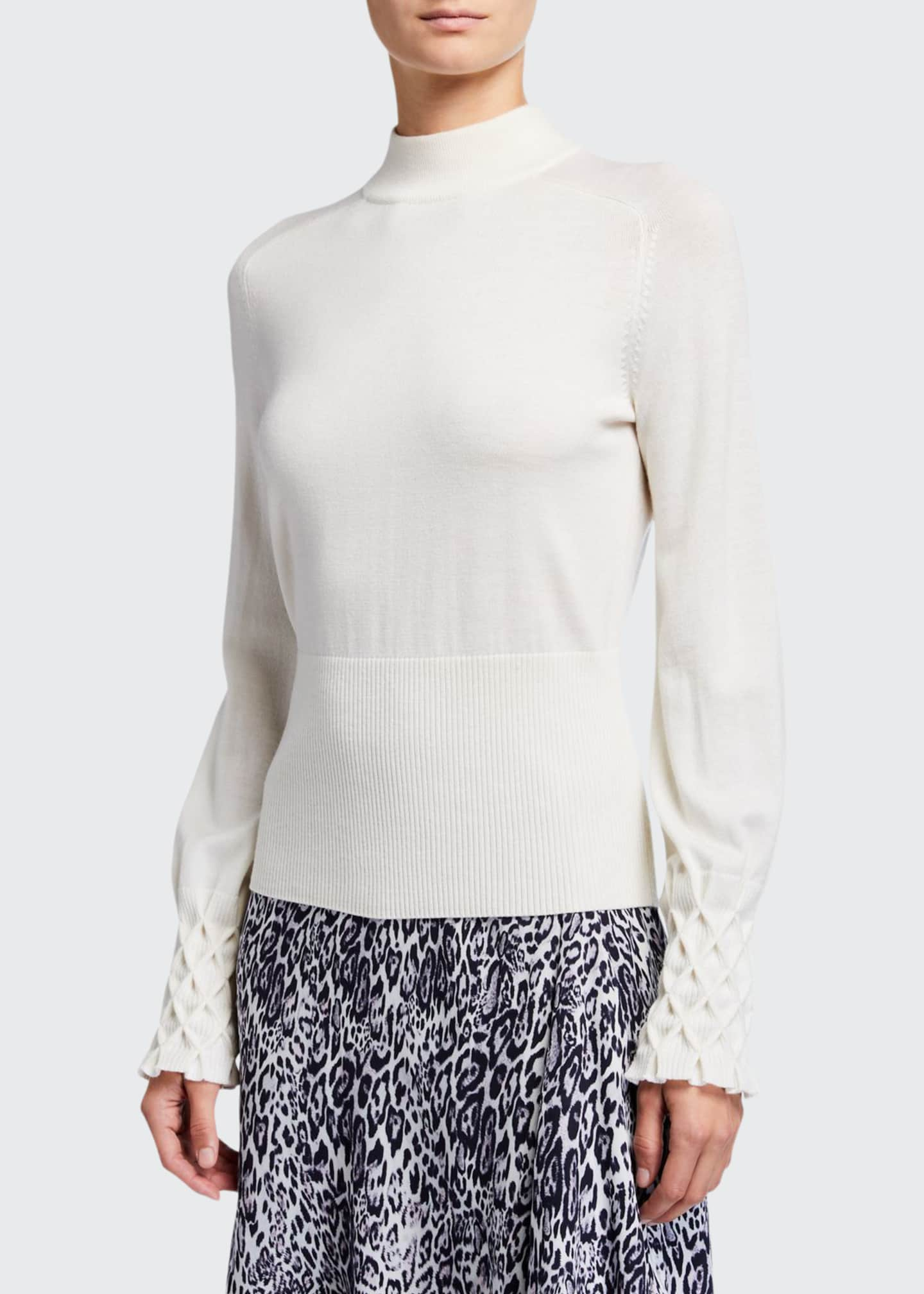Image 1 of 2: Skylar Mock-Neck Textured Cuff Merino Wool Sweater