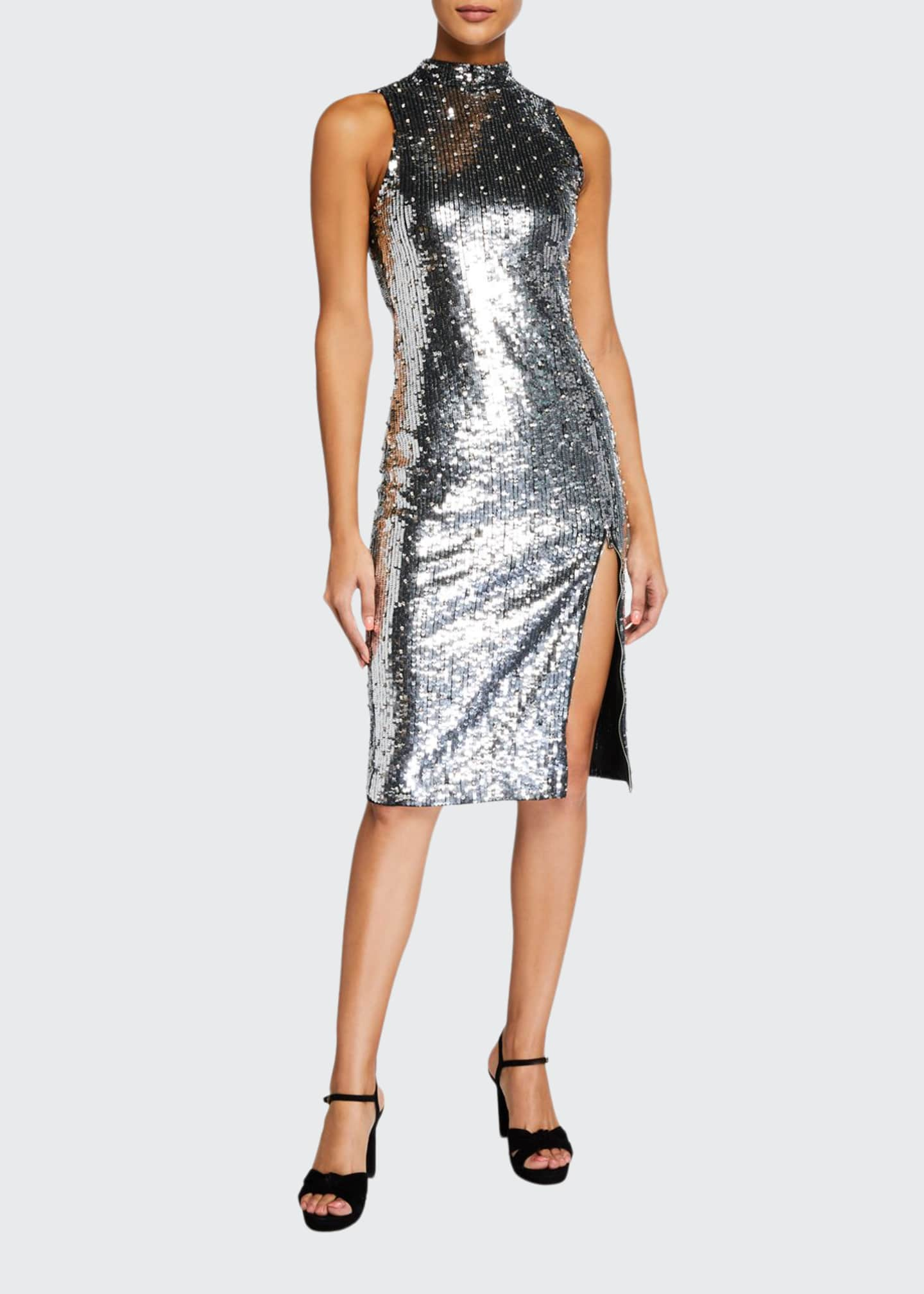 Alice + Olivia Malika Sequined Fitted Sleeveless Mock-Neck
