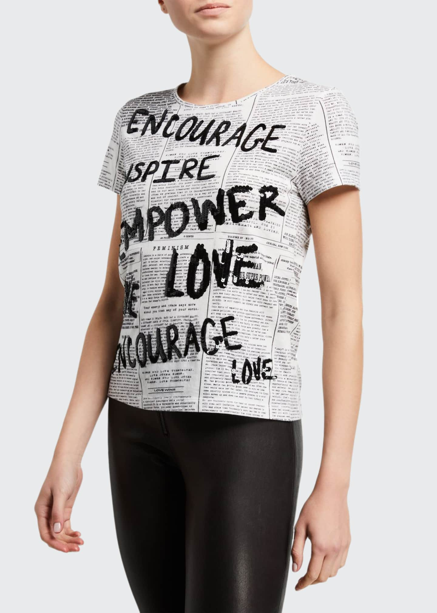 Alice + Olivia Rylyn Embellished Crewneck Tee
