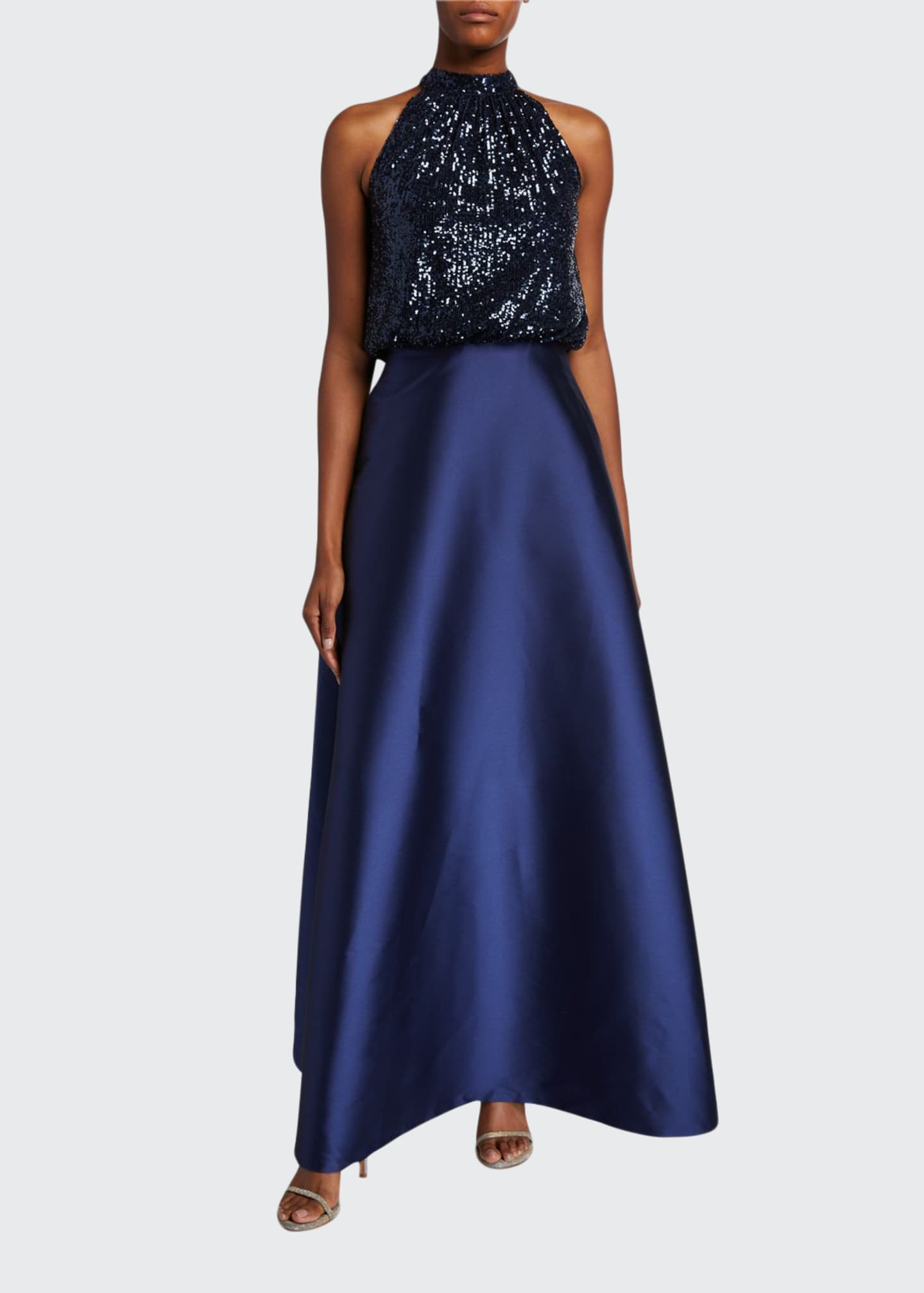 Image 1 of 2: Patricia Sequin Halter-Neck Ball Gown