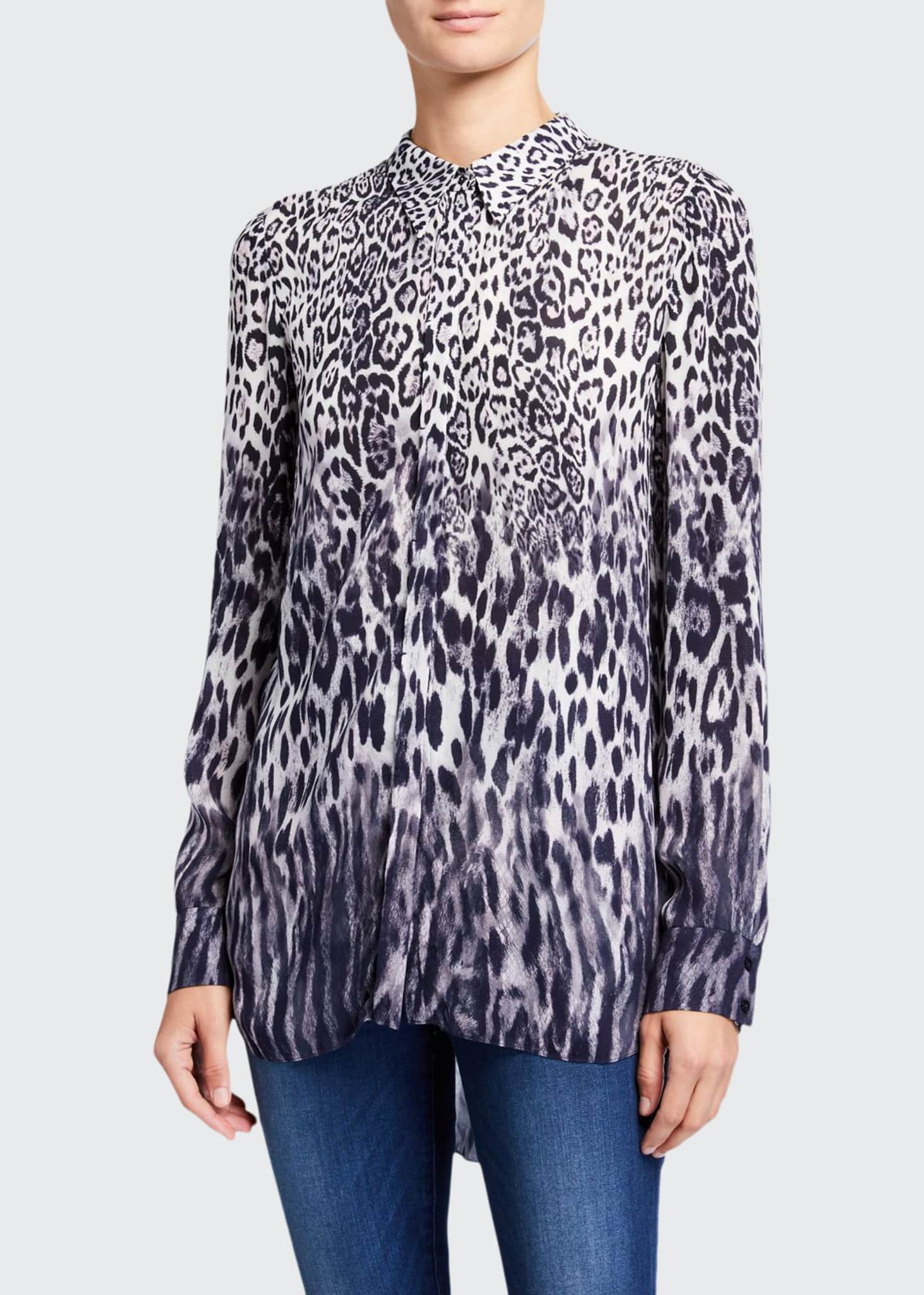 Elie Tahari Ingunn Animal-Print Button-Down Shirt