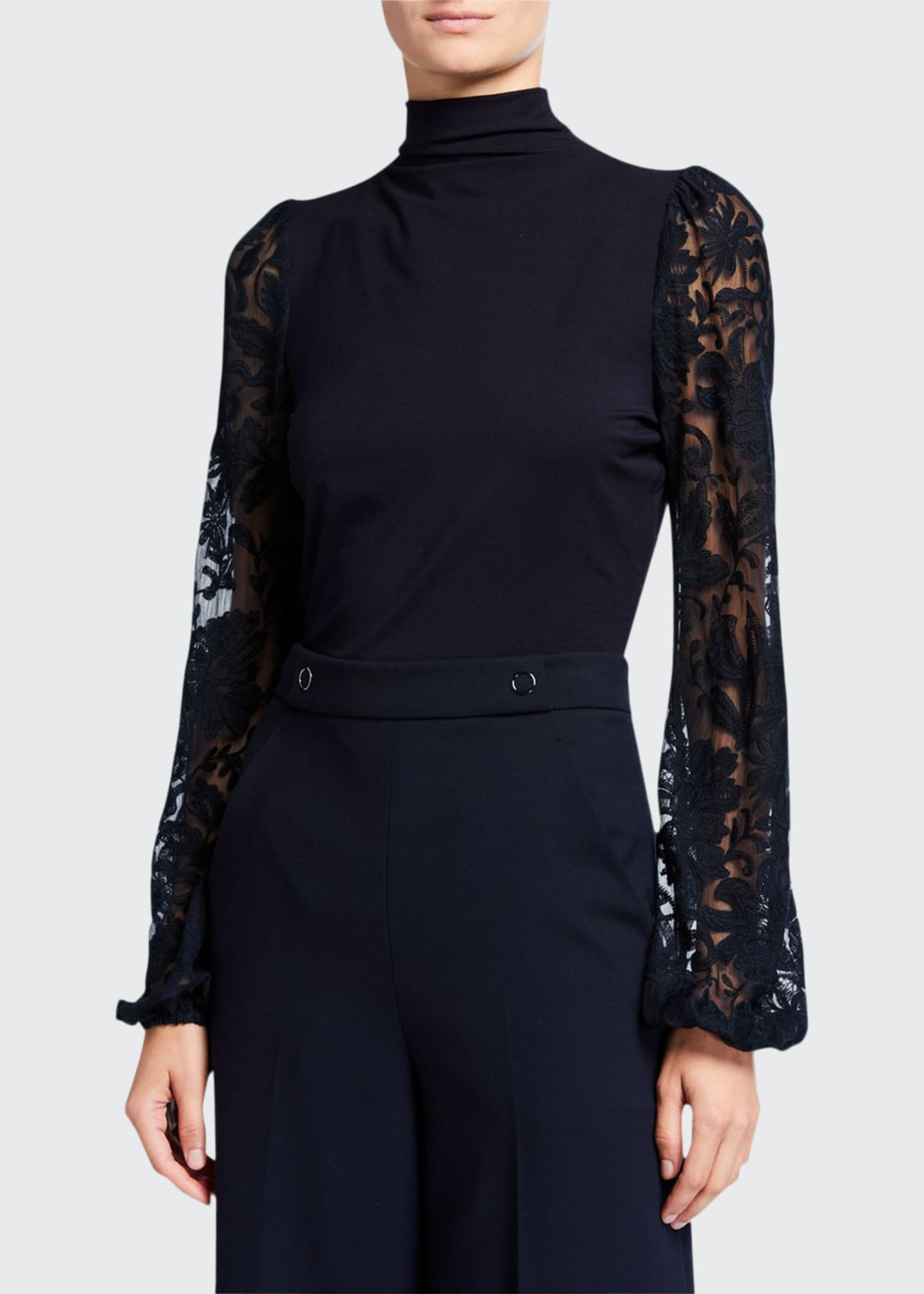 Elie Tahari Johana Sheer Embroidered Sleeve Turtleneck Sweater