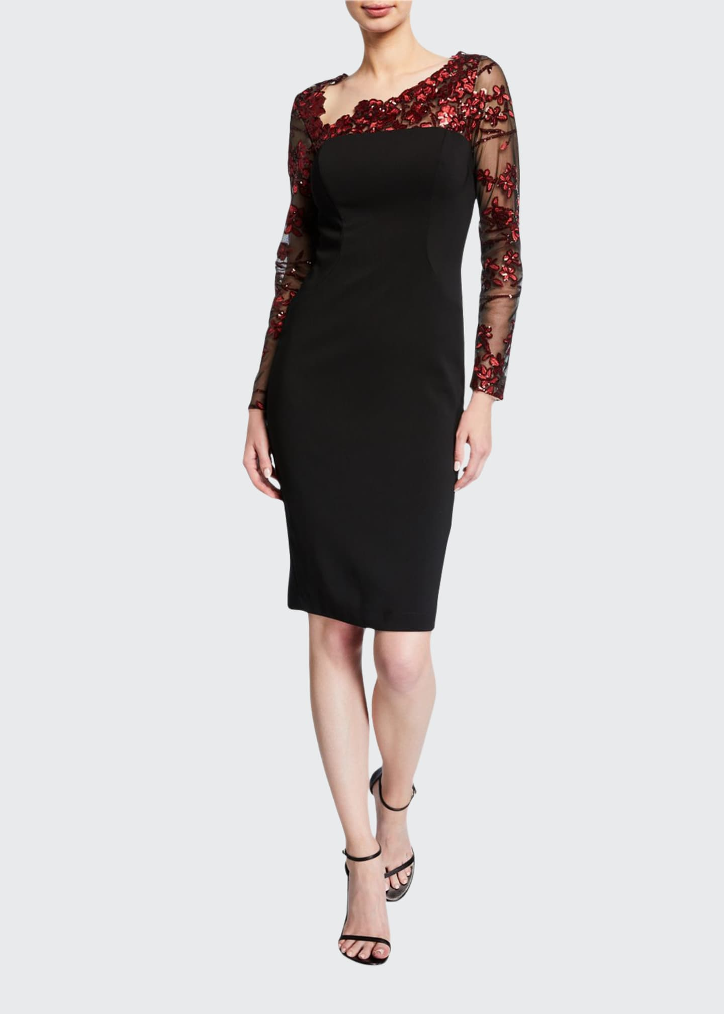 Carmen Marc Valvo Infusion Embroidered Illusion Asymmetric-Neck