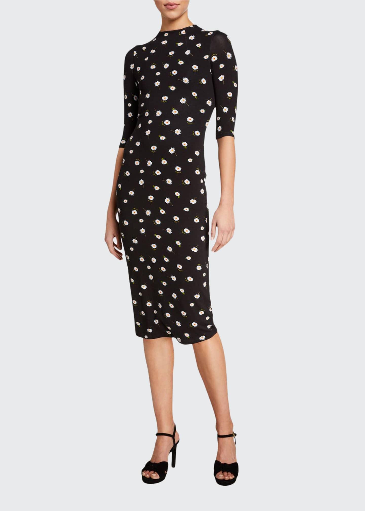 Alice + Olivia Delora Fitted Mock-Neck Dress