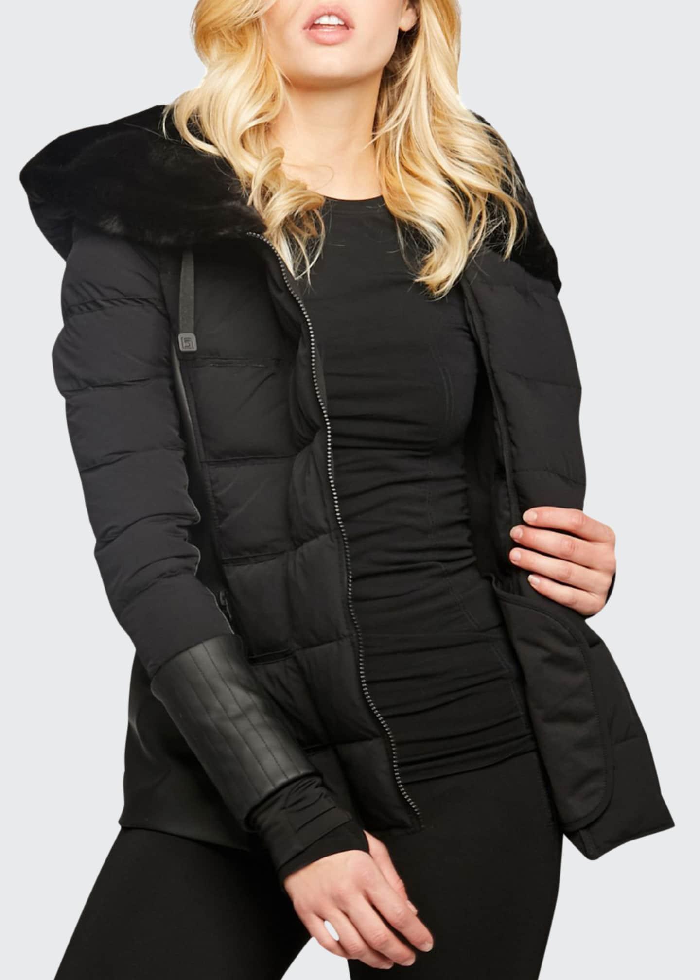 Blanc Noir Asymmetric Moto Puffer Jacket w/ Faux
