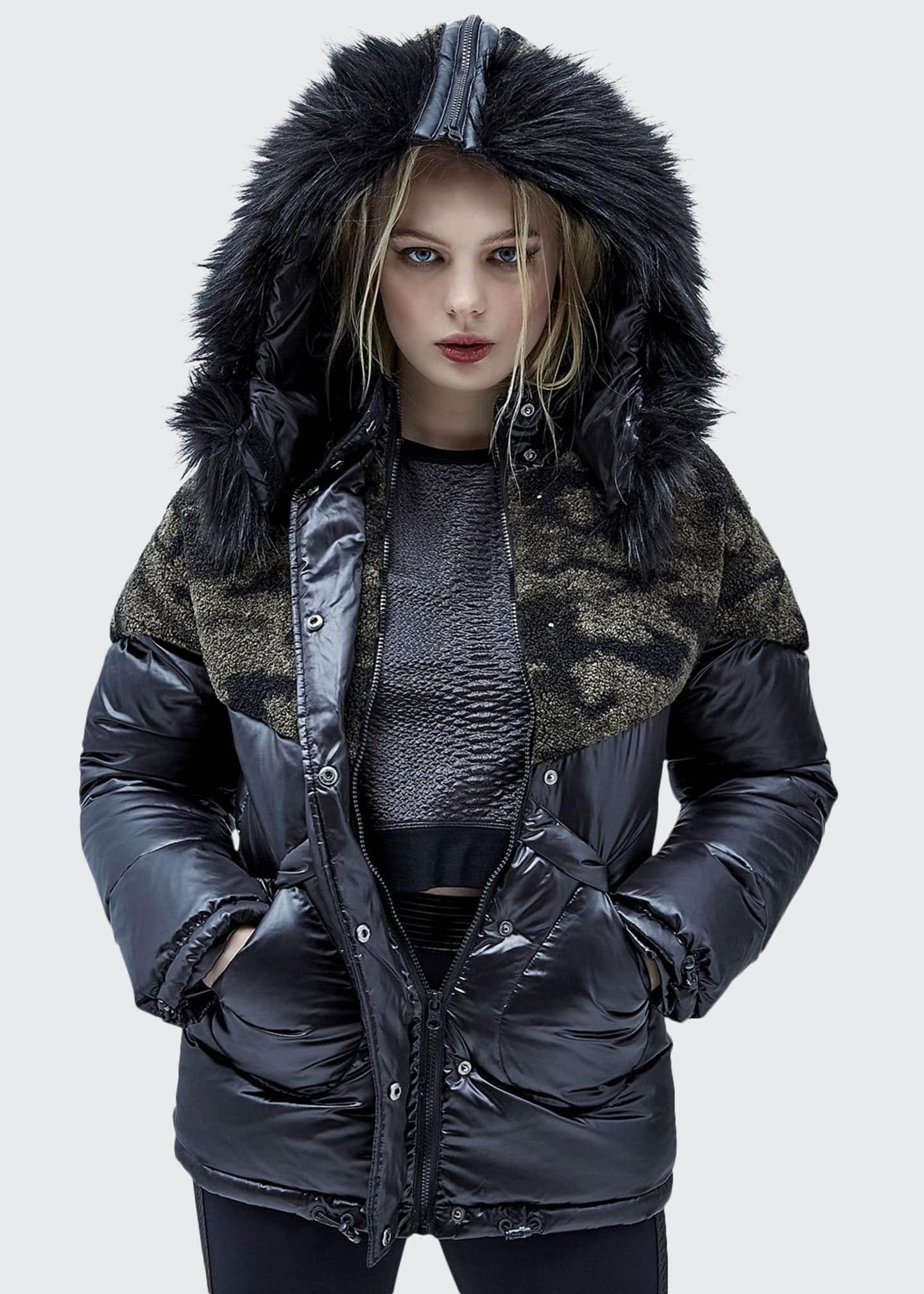 Blanc Noir Hooded Camo-Sherpa Trim Puffer Jacket