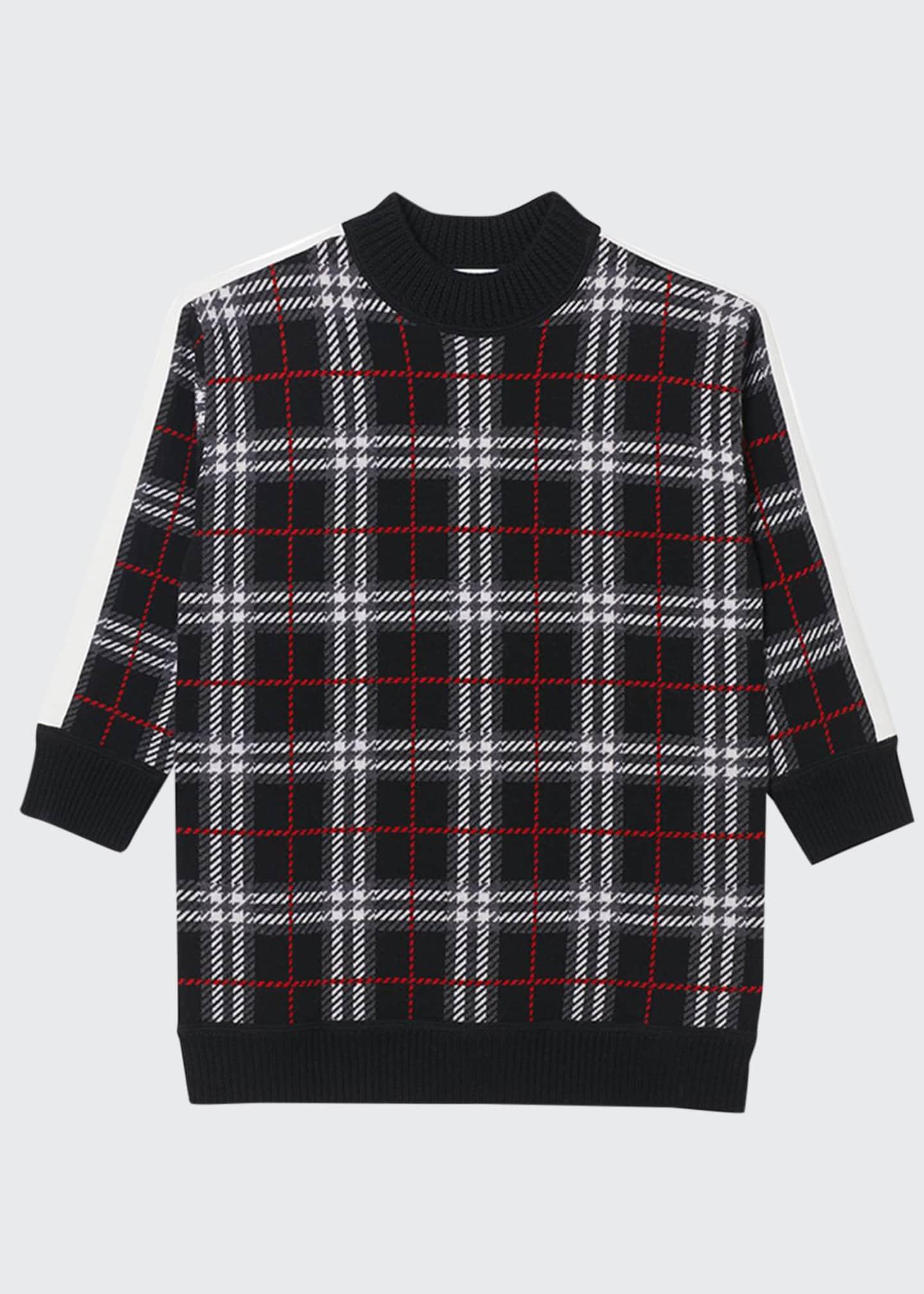 Burberry Girl's Kristin Check Intarsia Sweater Dress, Size