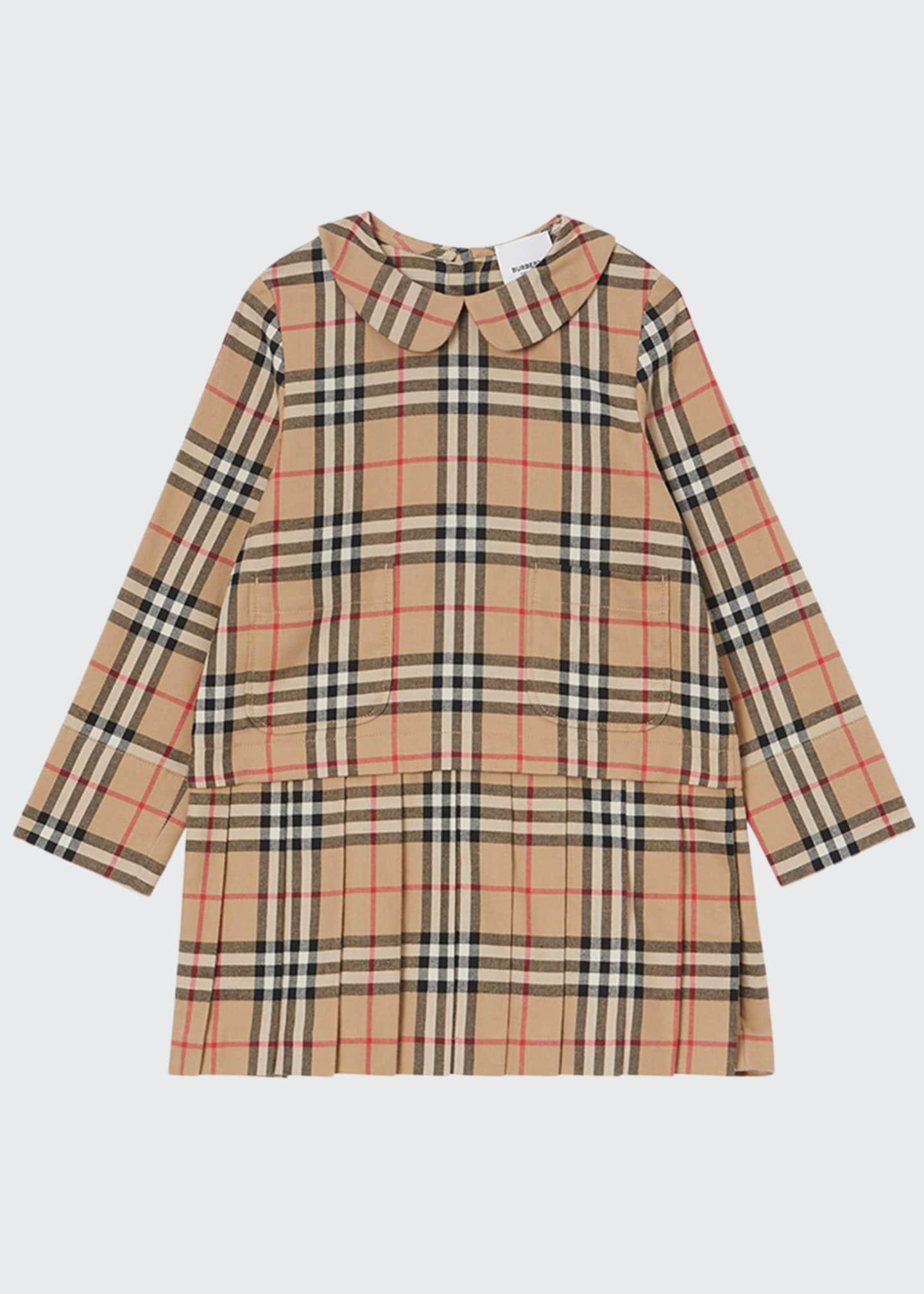 Burberry Girl's Melania Flannel Check Dress, Size 3-14