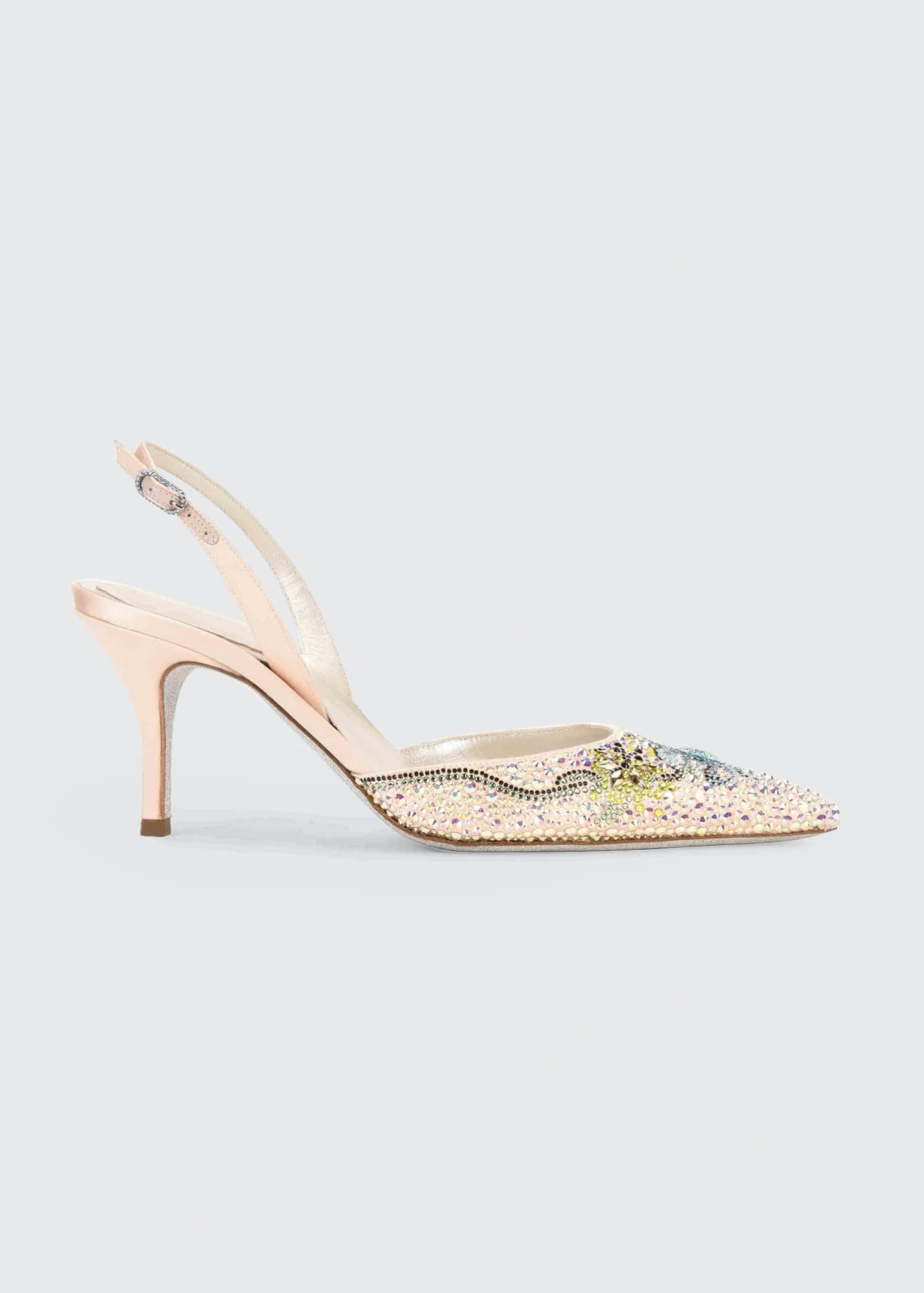 Rene Caovilla Beaded Satin Cocktail Slingback Pumps