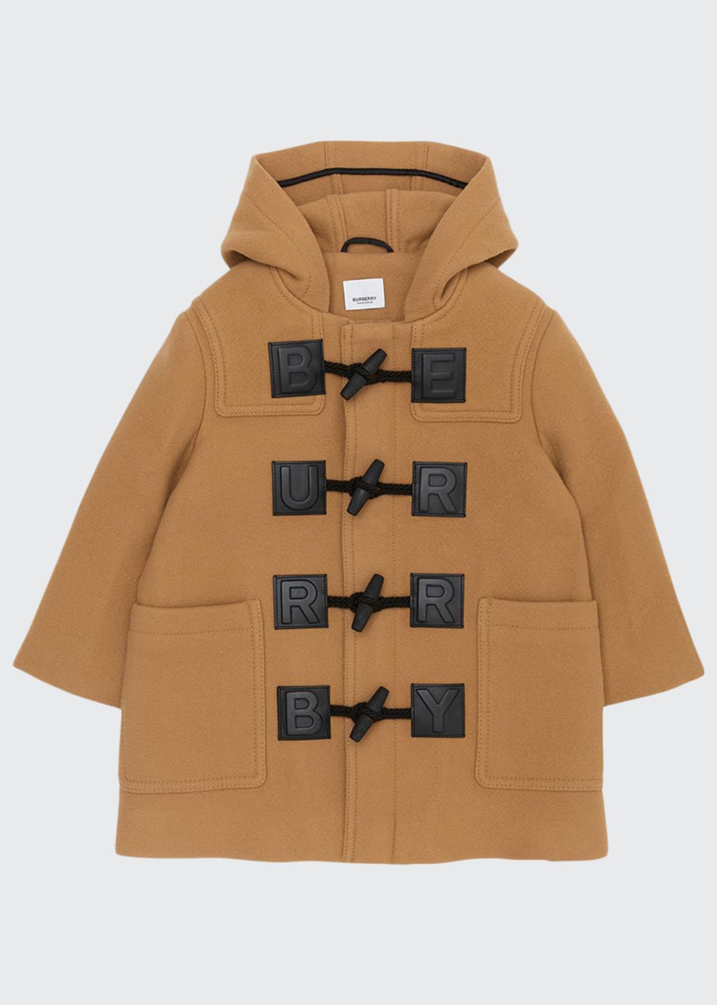 Burberry Girl's Braydon Duffel Coat w/ Leather Logo