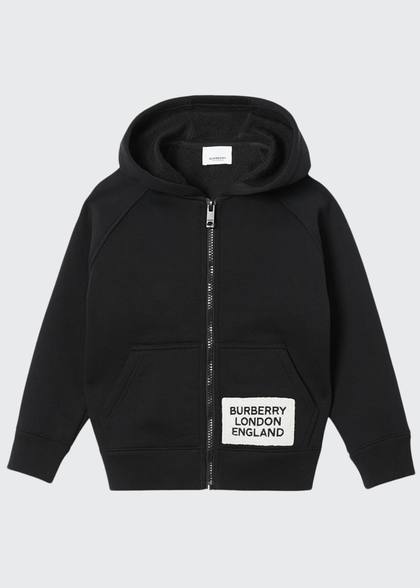 Burberry Boy's Zip-Up Hooded Jacket w/ Logo Patch,