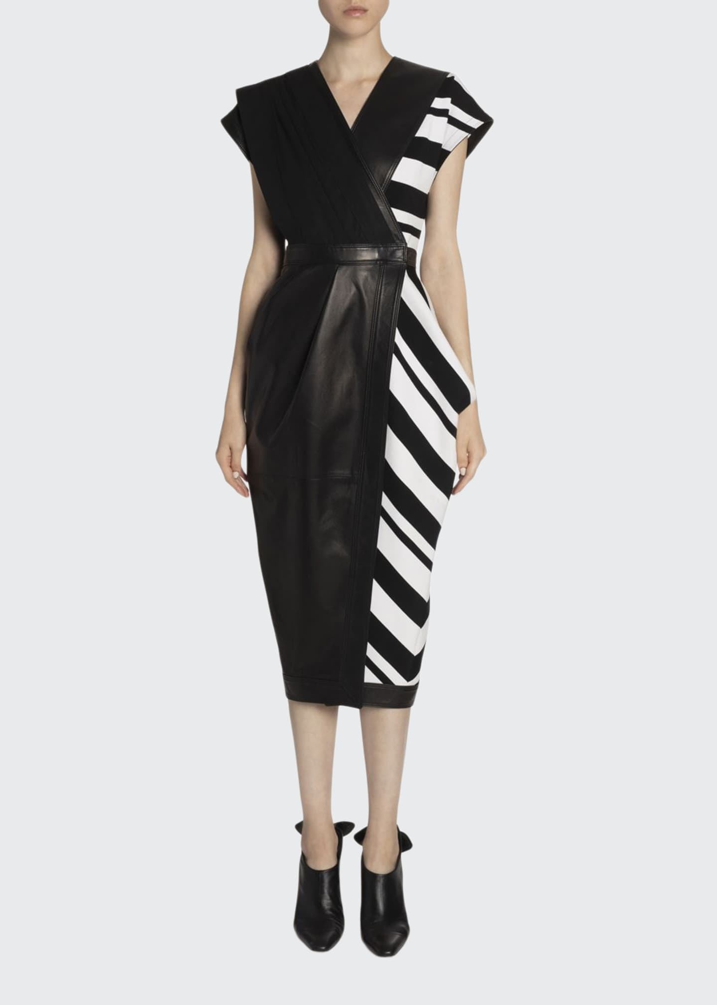 Proenza Schouler Cap-Sleeve Leather & Knit Wrap Dress