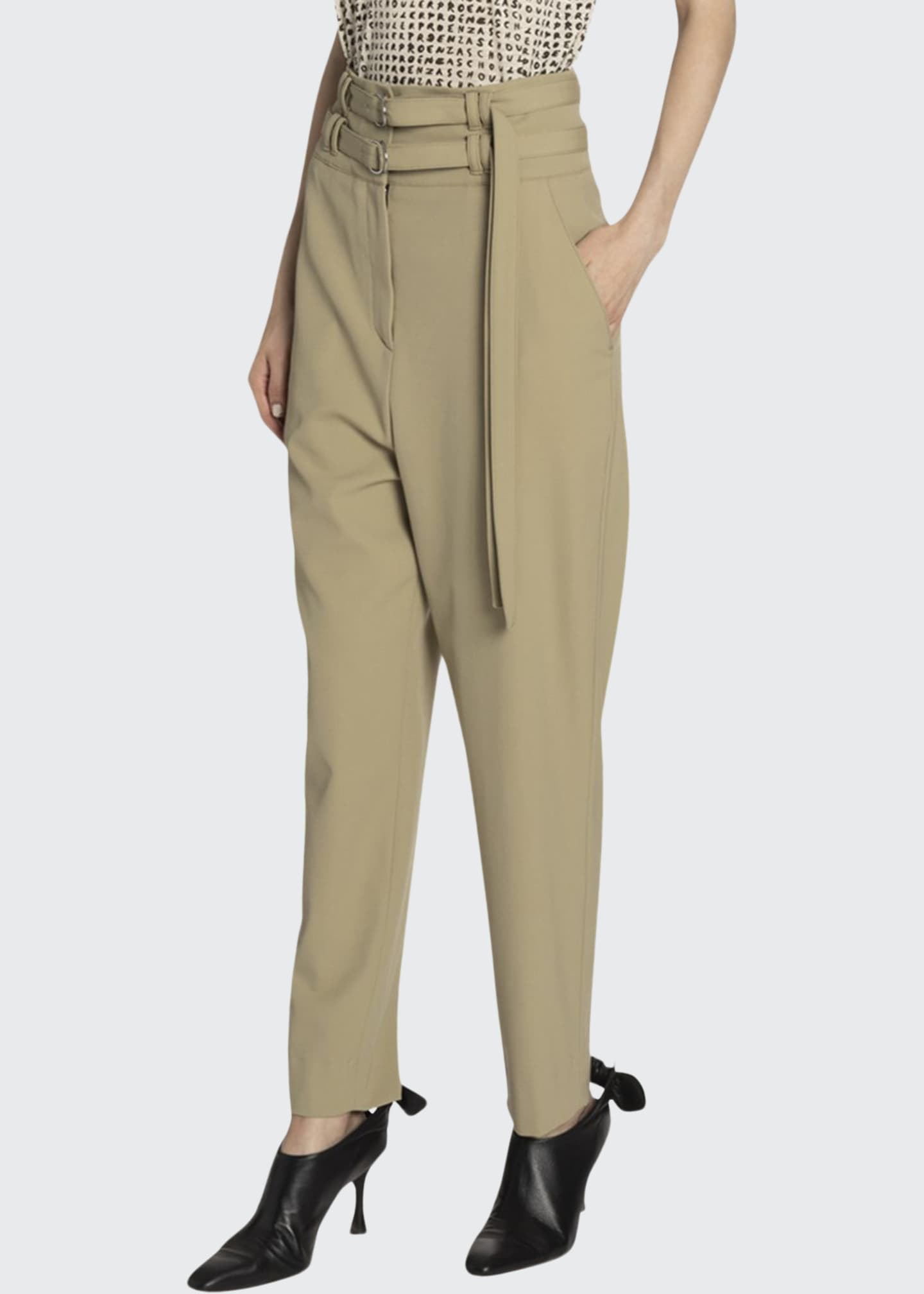 Image 1 of 2: Belted Wool High-Waist Pants