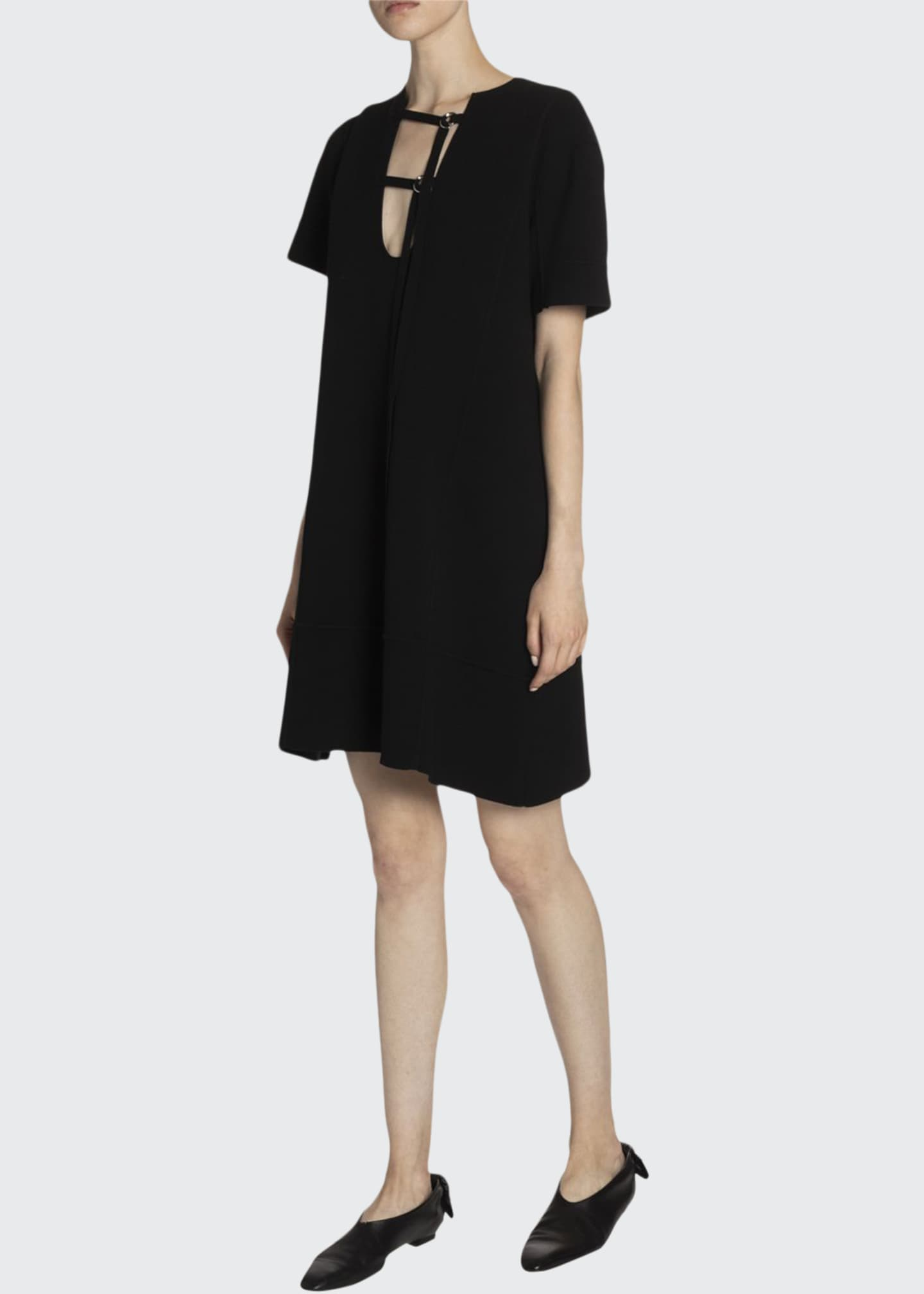 Image 1 of 2: Buckle-Neck Jersey Shift Dress