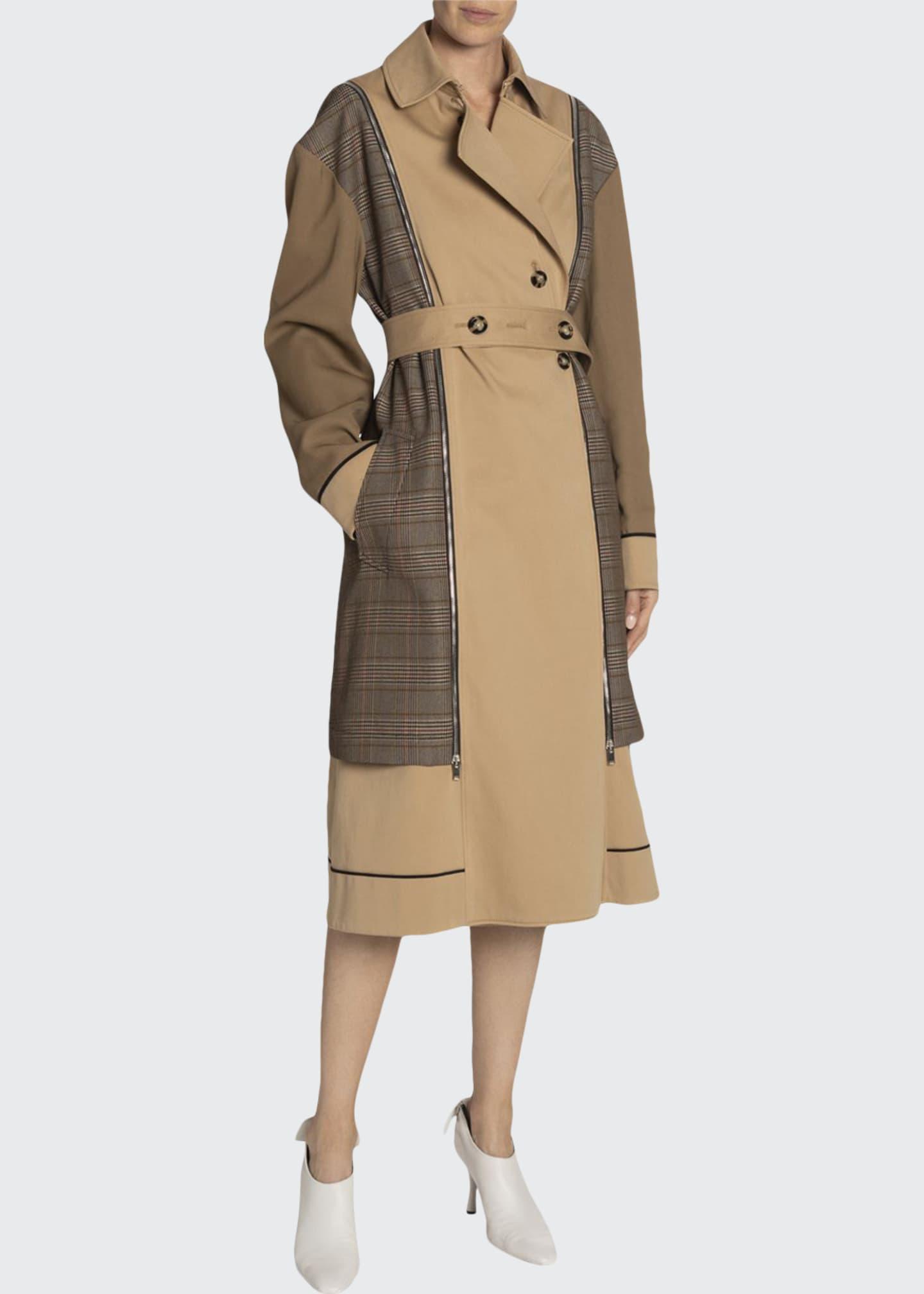Proenza Schouler Glen Plaid Belted Trench Coat