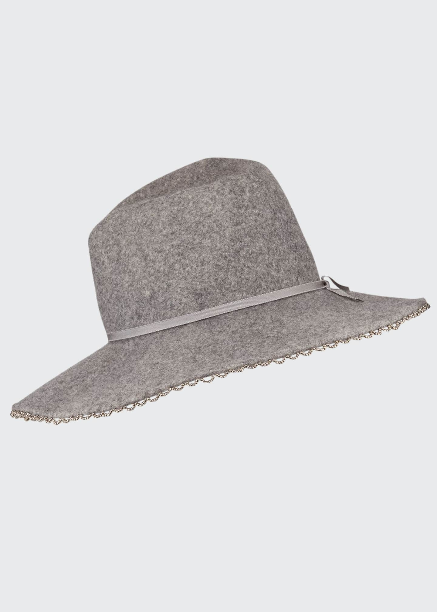 Image 1 of 1: Drake Wool Felt Fedora Hat w/ Beaded Edge