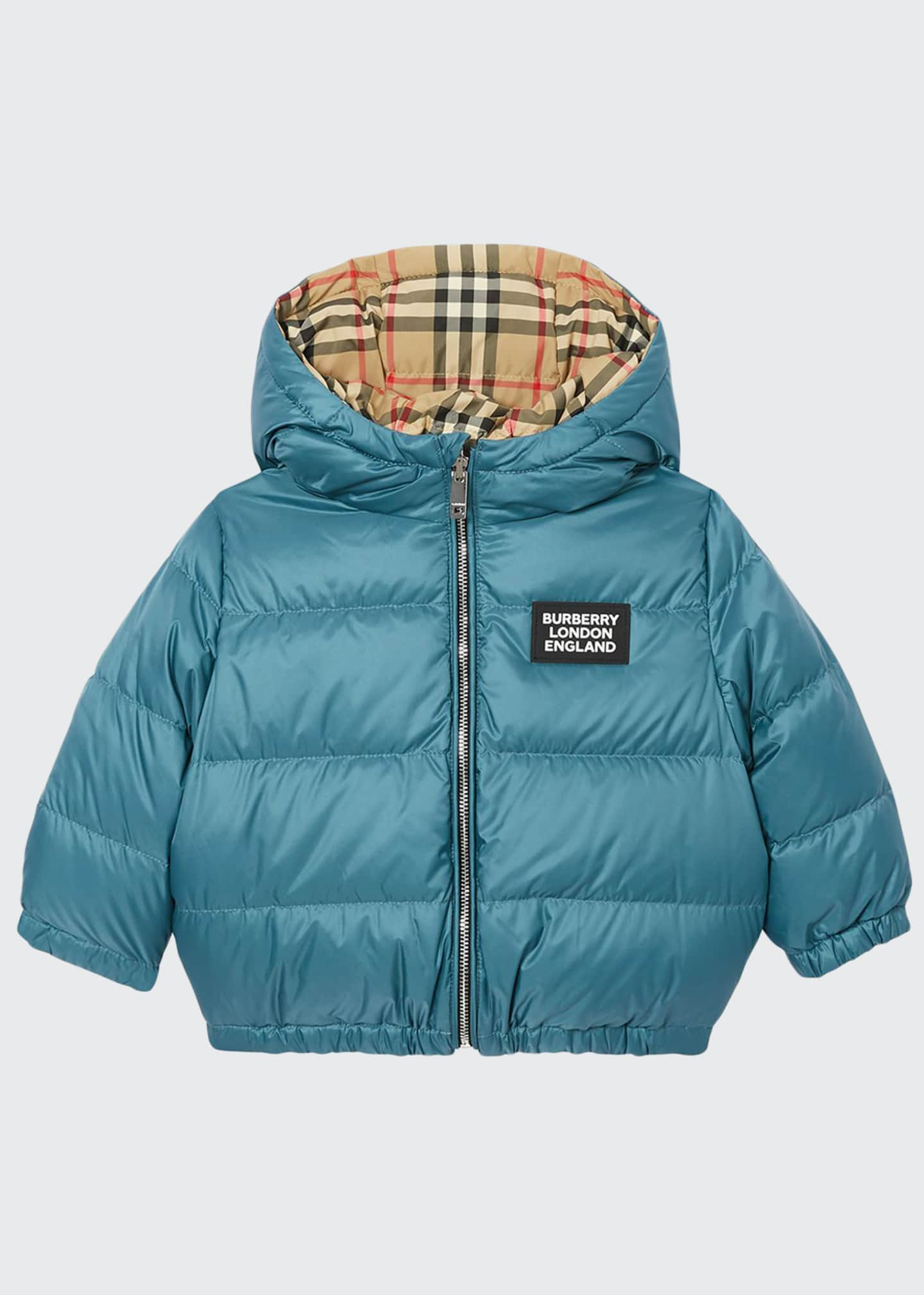 Burberry Boy's Rayan Check Reversible Puffer Coat, Size