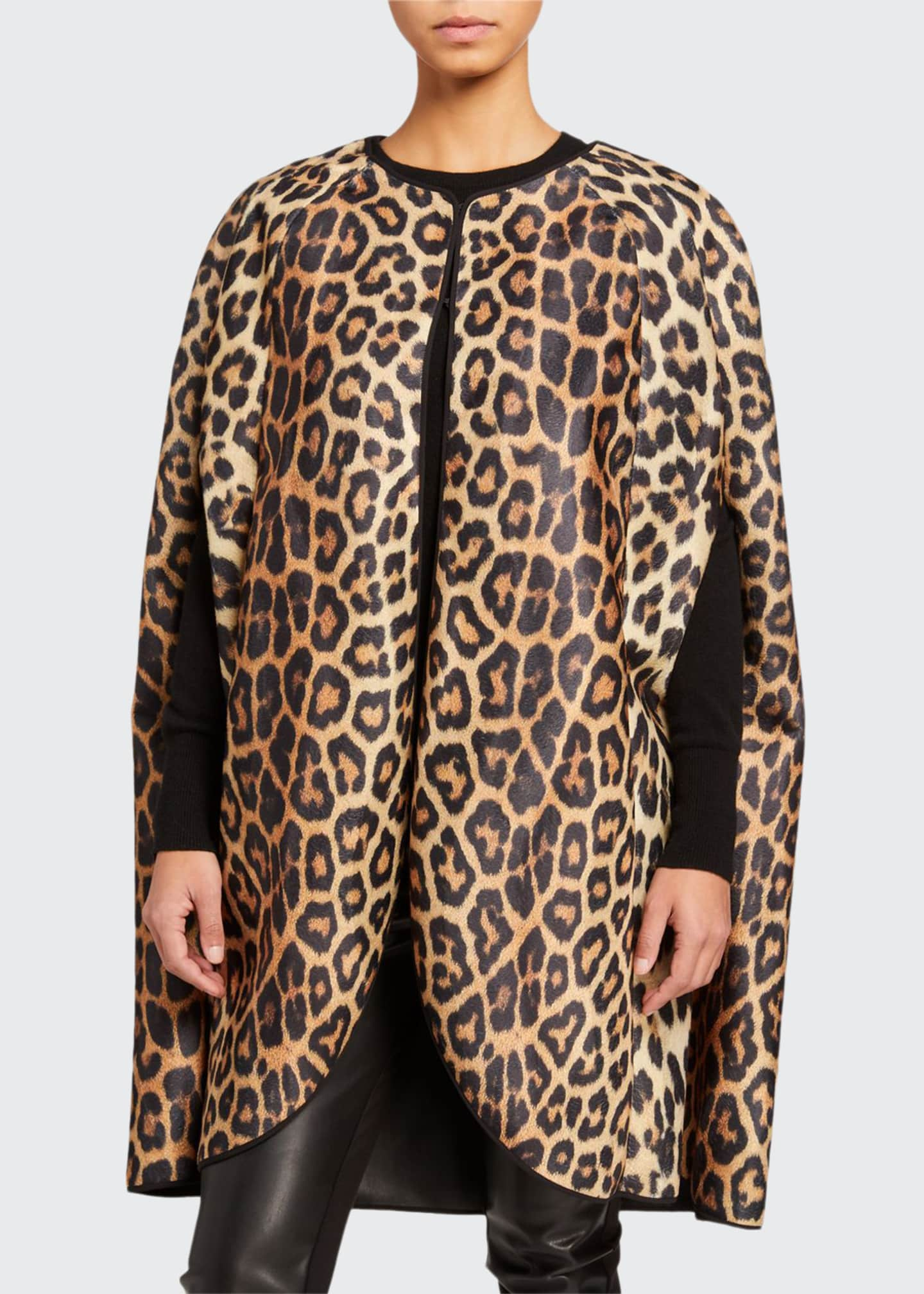 House of Fluff Leopard Print Faux Fur Cape