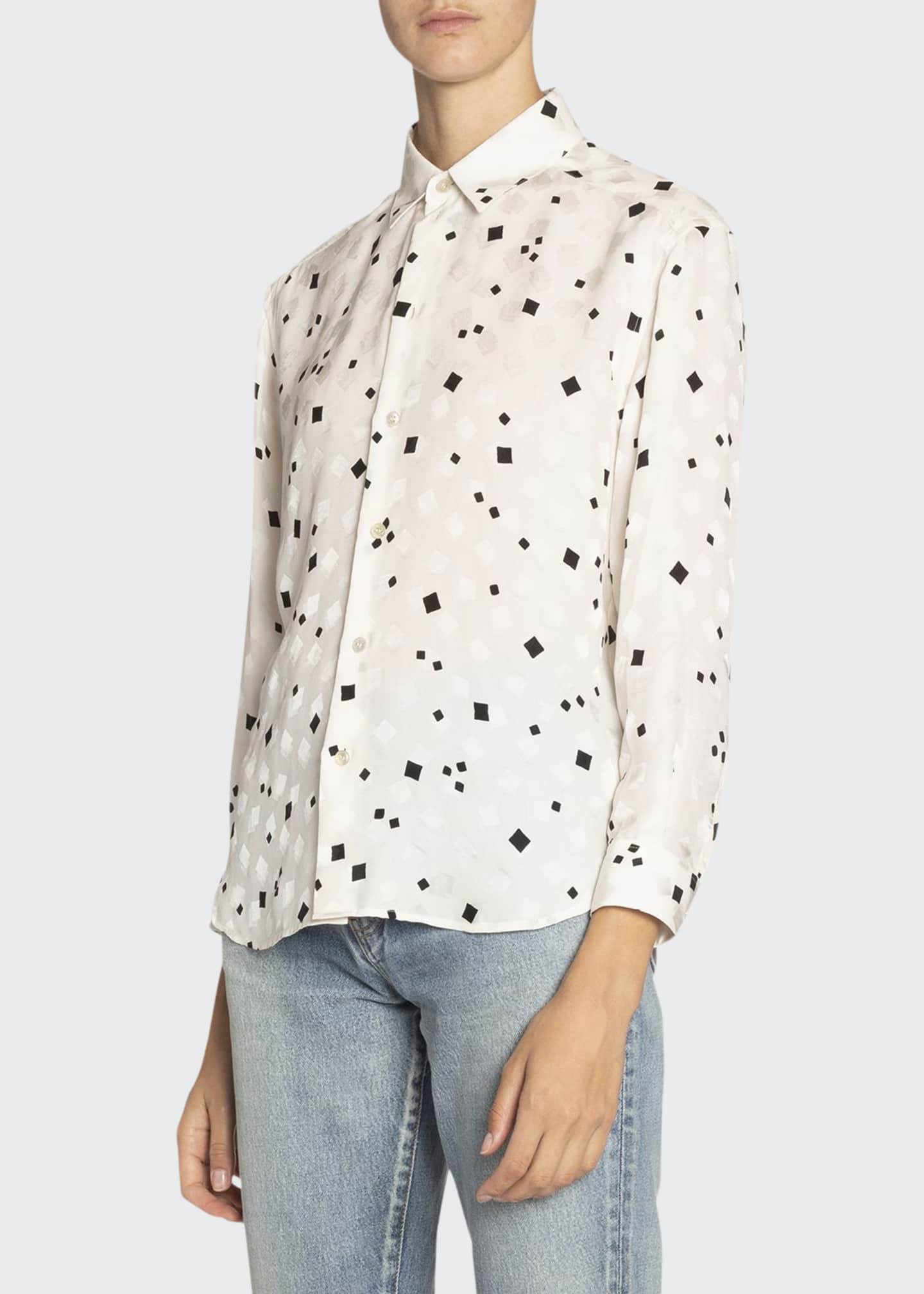 Image 1 of 2: Geometric-Print Silk Shirt