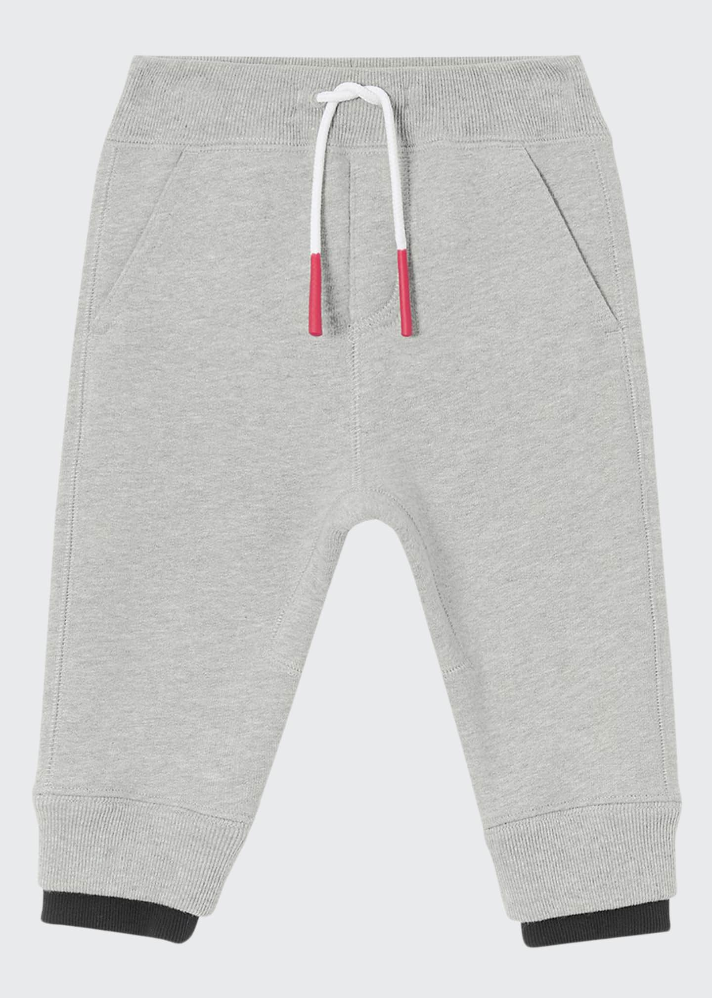 Burberry Boy's Double Ribbed Logo Patch Sweatpants, Size