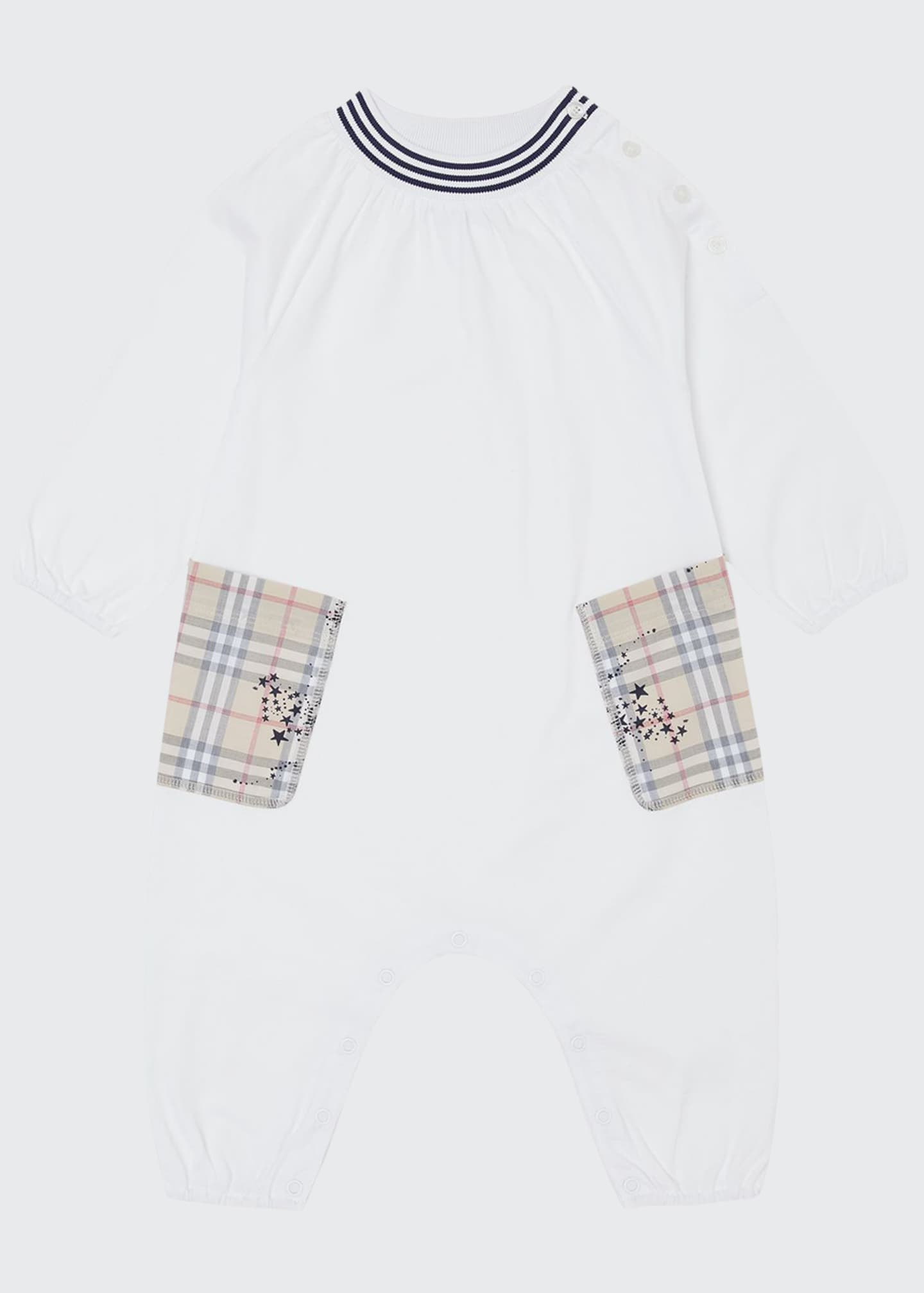 Burberry Girl's Maddy Check Star Print Pocket Coverall,